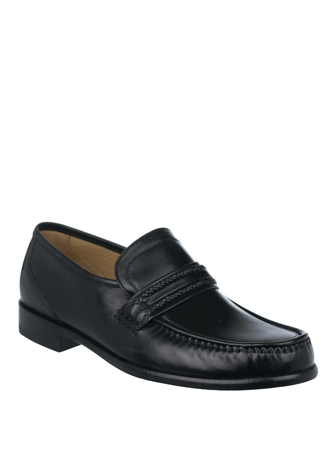 Loake Rome Leather Slip On Formal Shoe, Black