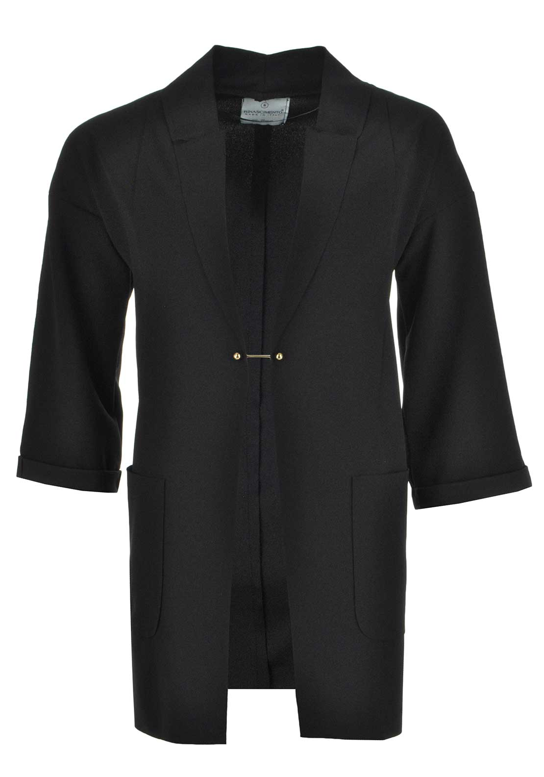 Rinascimento Cropped Sleeve Duster Jacket, Black