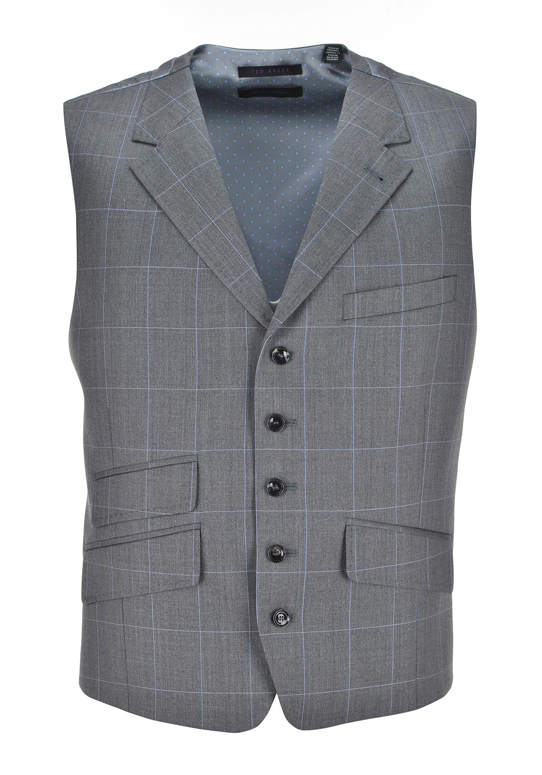 Ted Baker Mens Beith Check Tapered Waistcoat, Grey