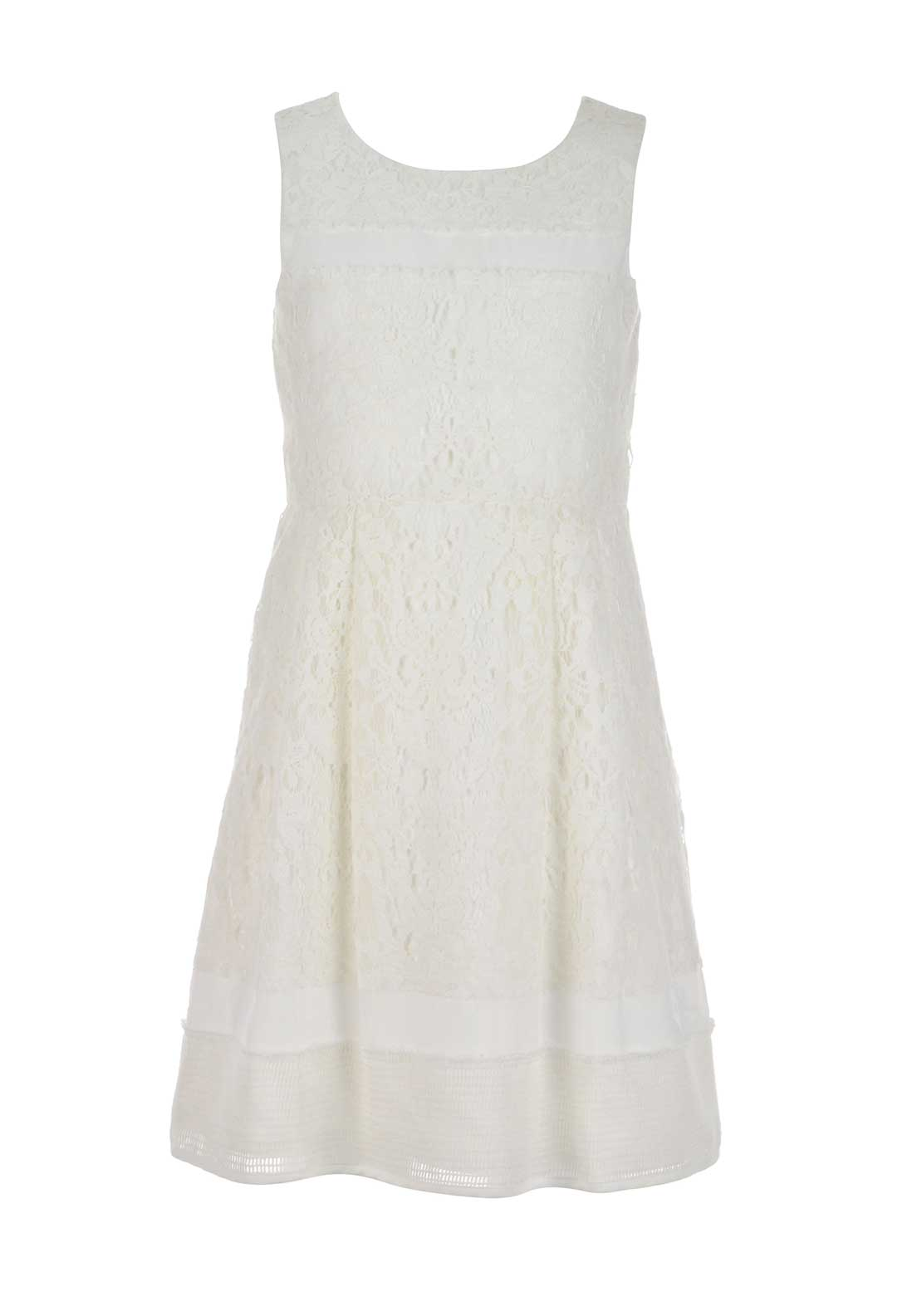 Derhy Girls Celeste Sleeveless Lace Skater Dress, White