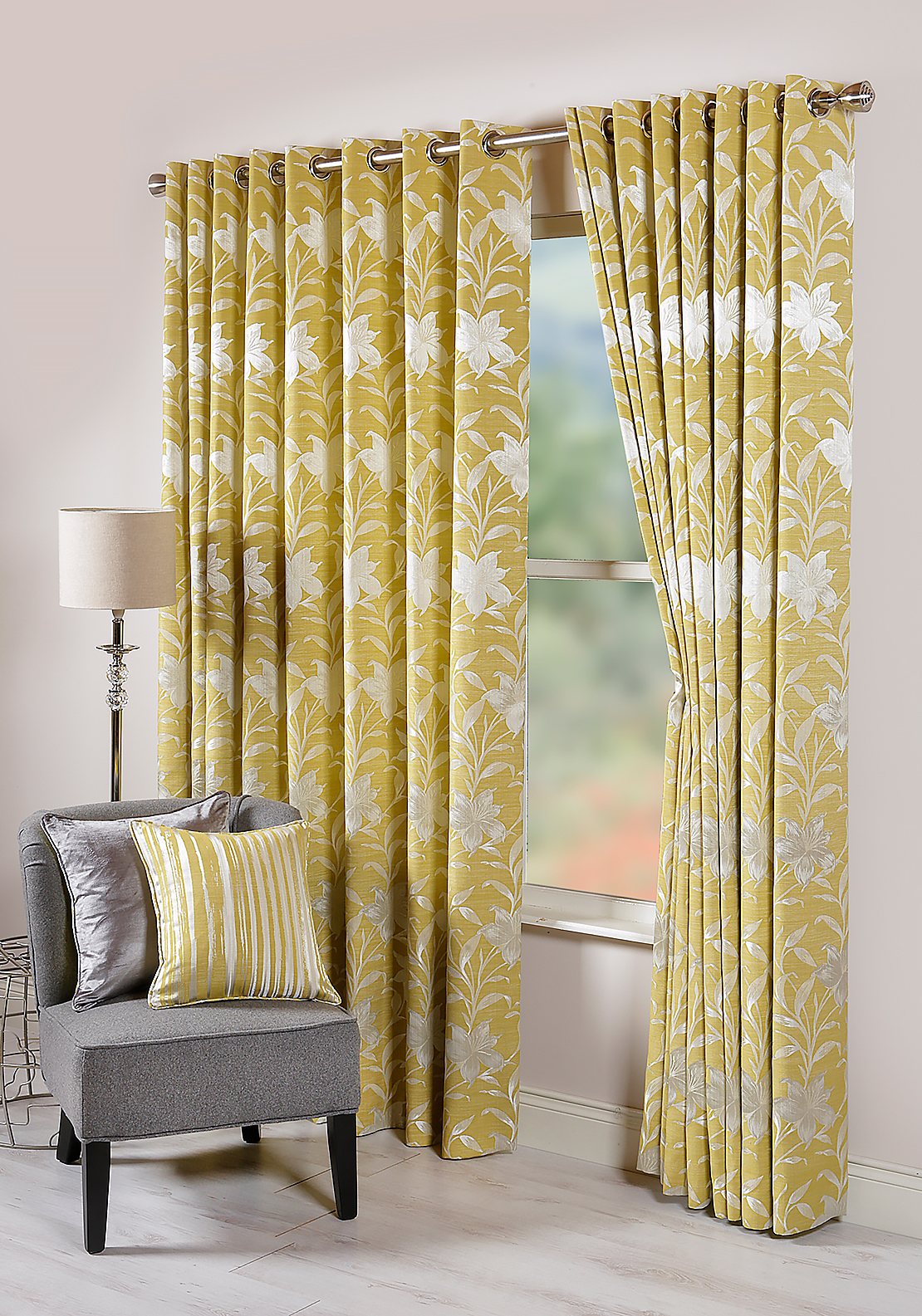 Scatterbox Nicola Floral Print Fully Lined Eyelet Curtains, Yellow 110cm x 90cm