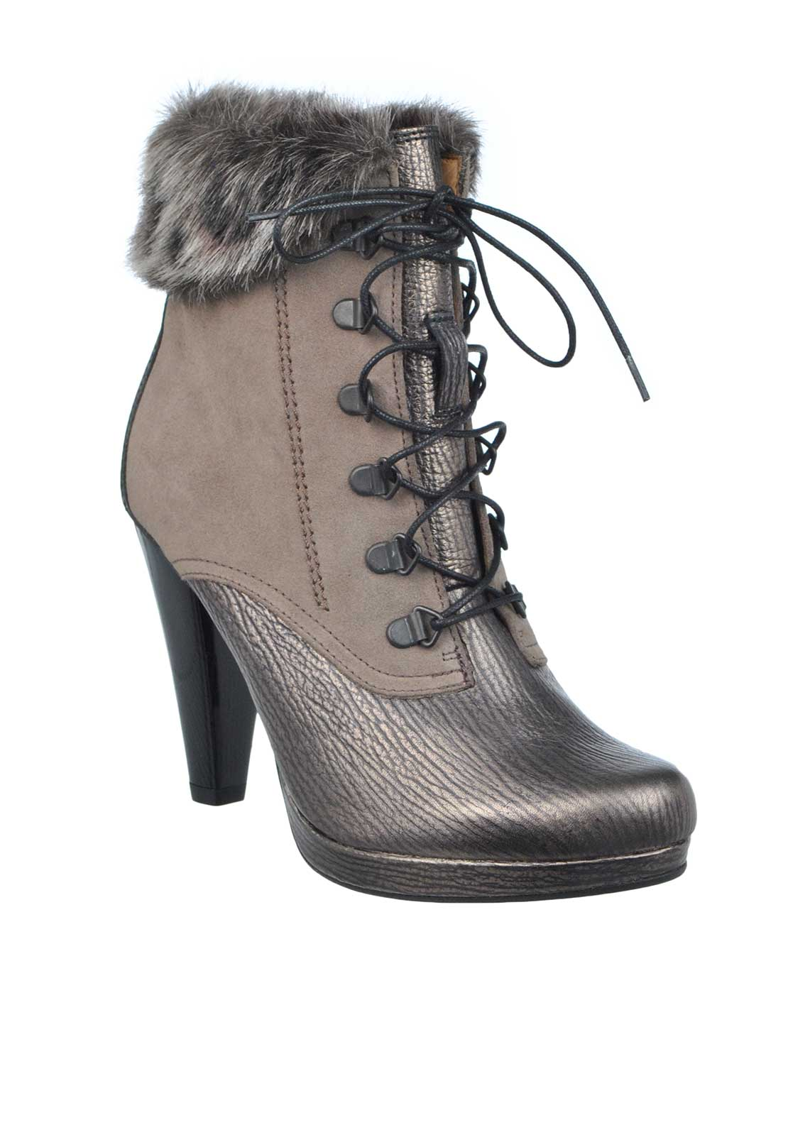 Hispanitas Lace Front Leather High Ankle Boot, Pewter