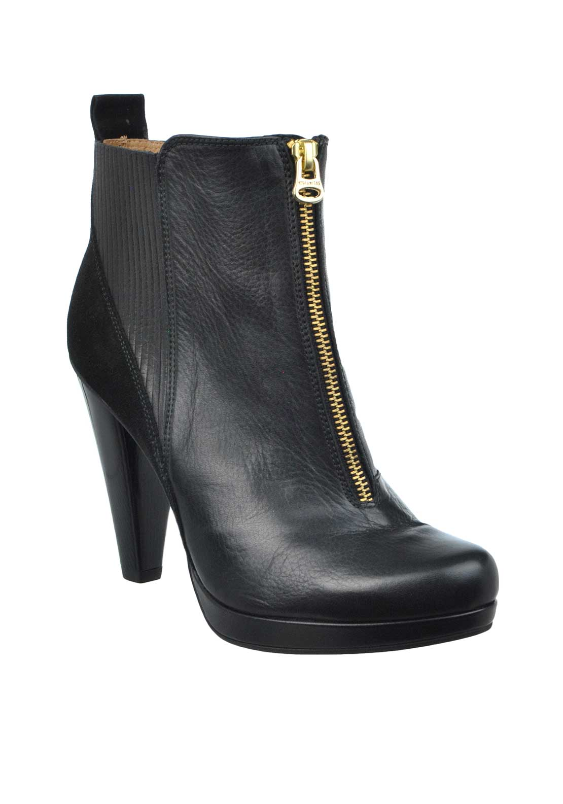 Hispanitas Leather Zip Detail Heeled Ankle Boots, Black