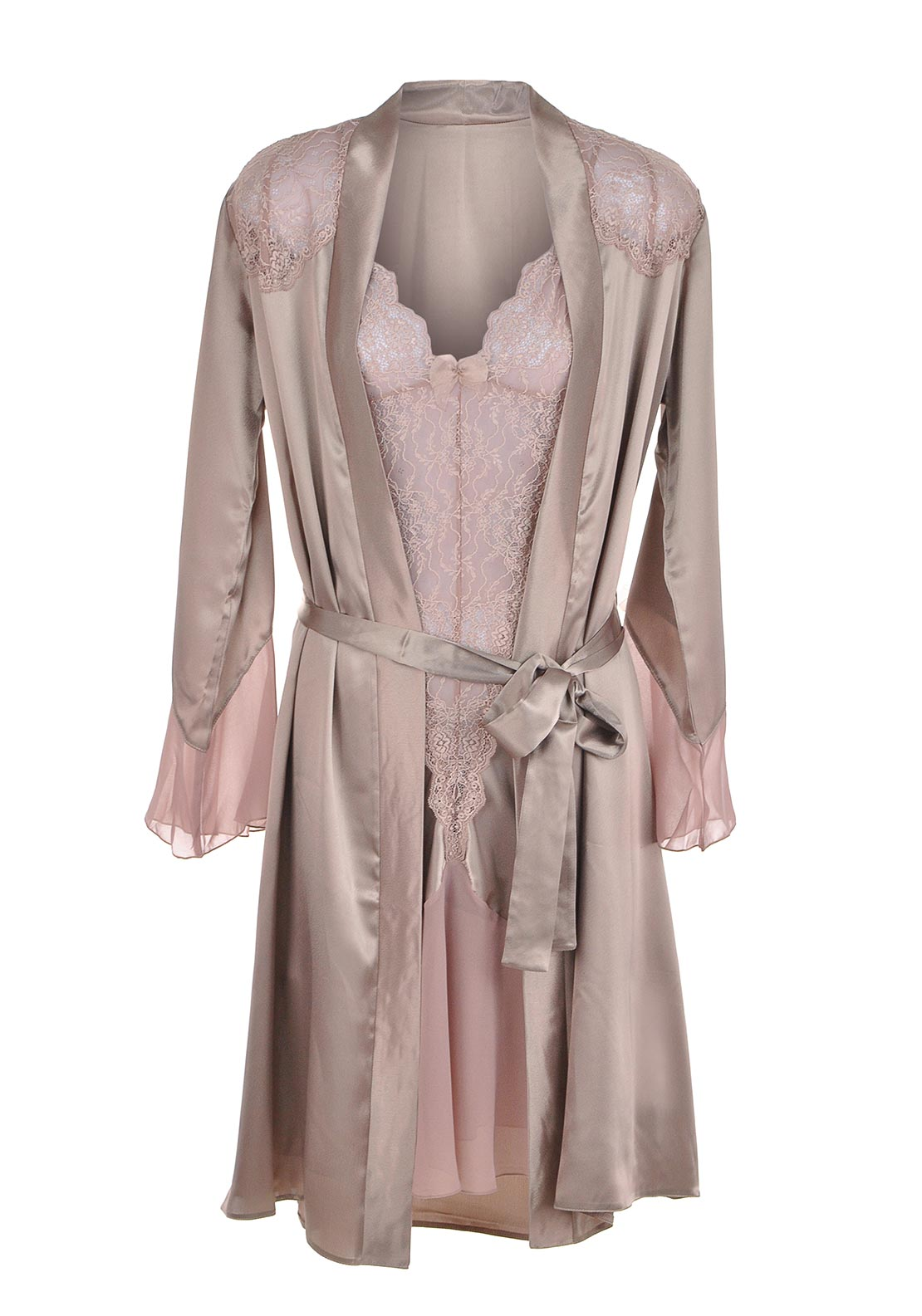 Slenderella Dressing Gown and Nightdress Chemise Set, Pink