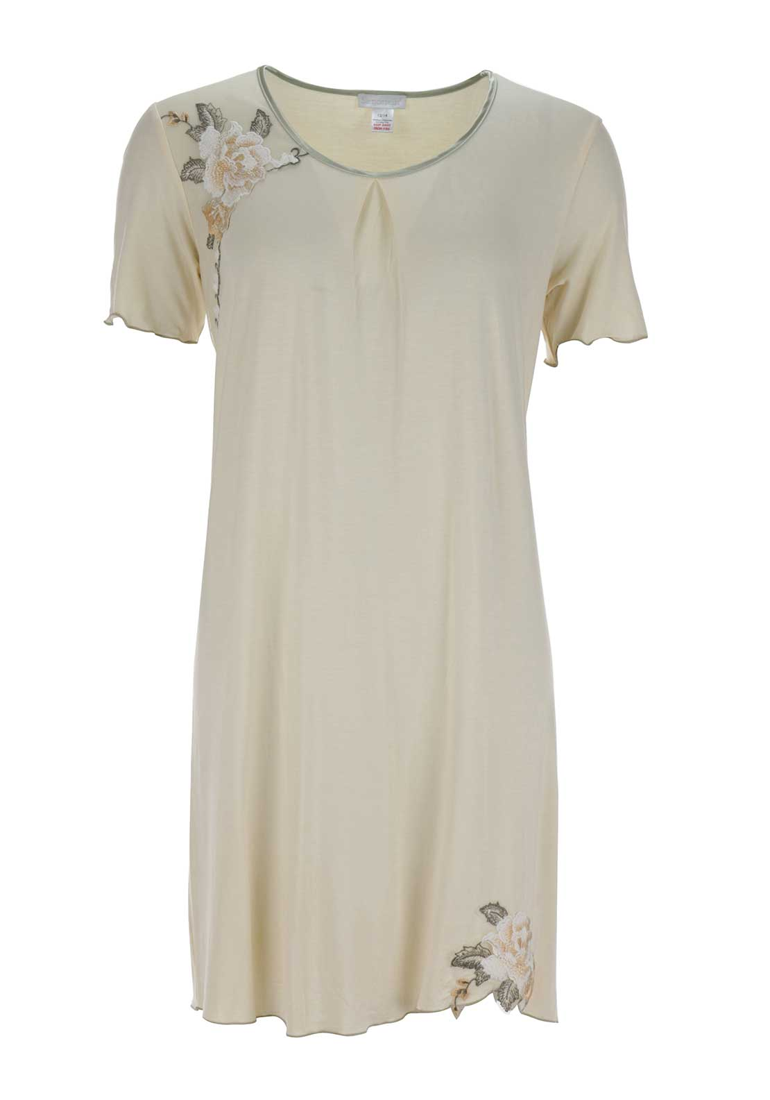 Slenderella Embroidered Trim Short Sleeve Nightdress, Peach