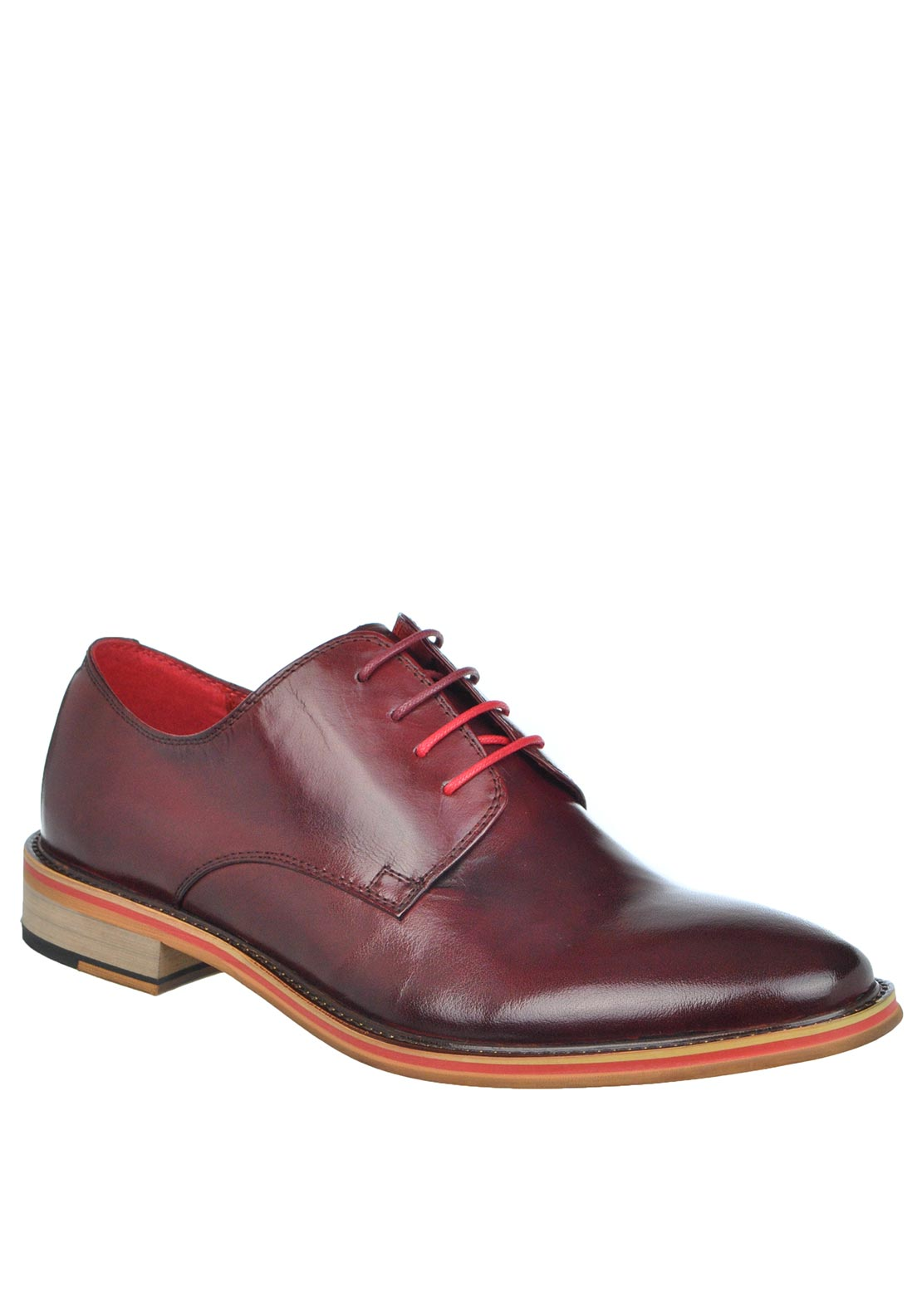 Justin Reece Alfred Lace Up Leather Shoe, Wine