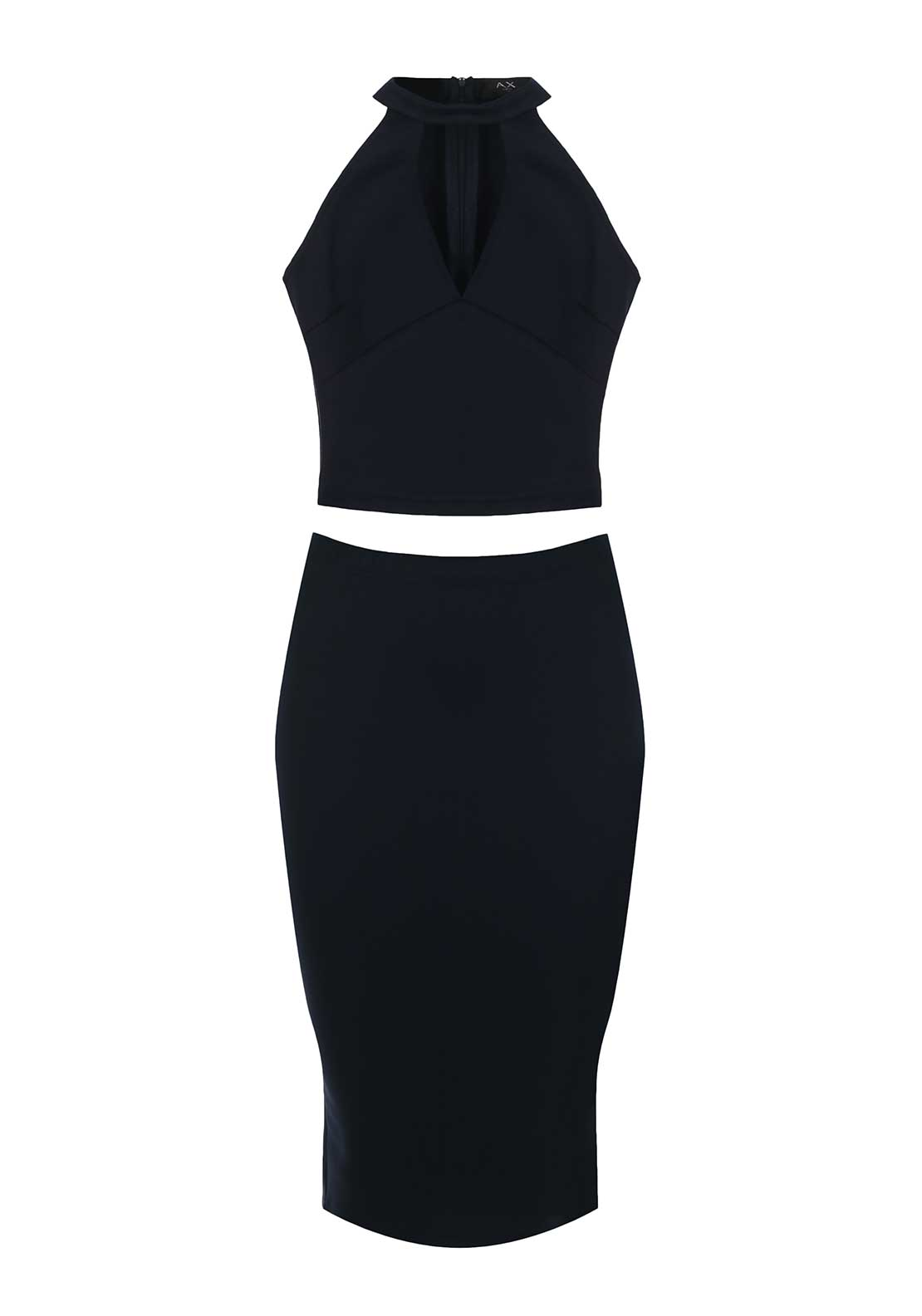 AX Paris Crop Top and Pencil Skirt Co-Ord, Navy
