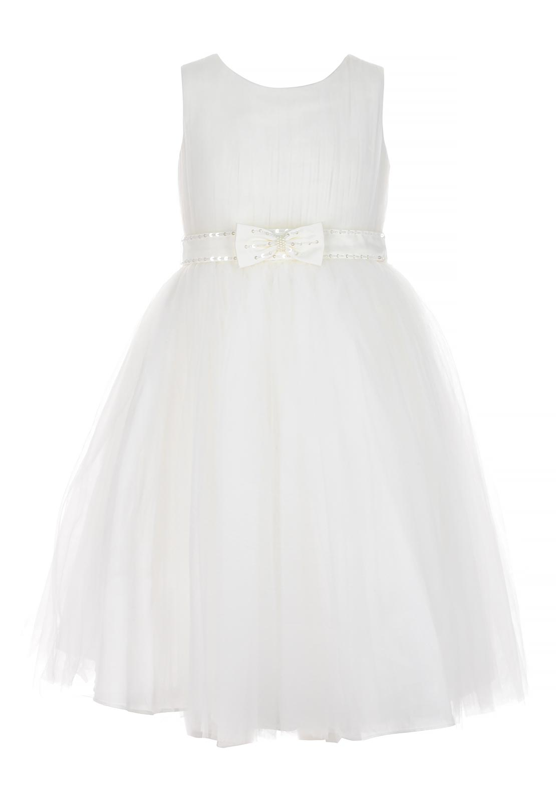 Sevva Girls Cindy Special Occasion Bow Belt Tulle Dress, Ivory