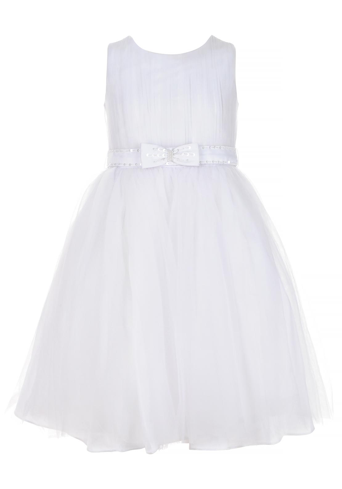 Sevva Girls Cindy Special Occasion Bow Belt Tulle Dress, White