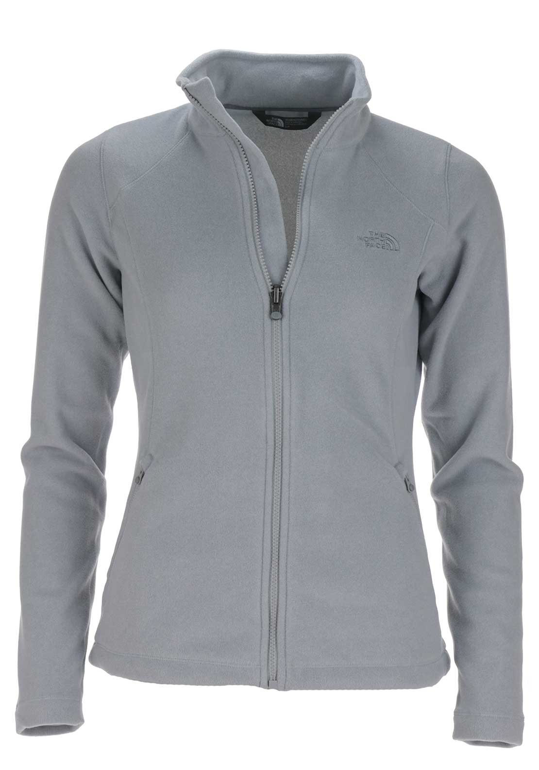The North Face Womens 100 Glacier Full Zip Fleece Jacket, Light Grey Heather