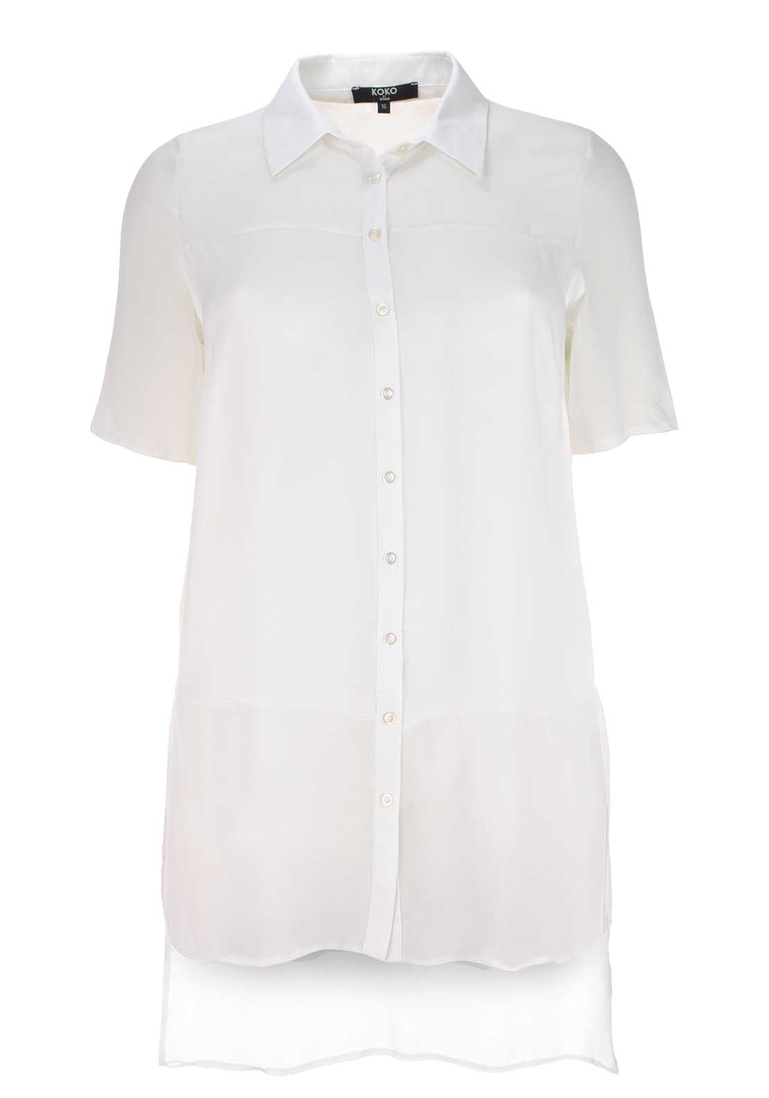 Lovedrobe Semi Sheer Tunic Top, Ivory