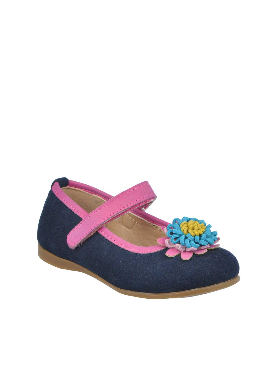 Tuc Tuc Girls Suede Flower Velcro Strap Pumps, Navy