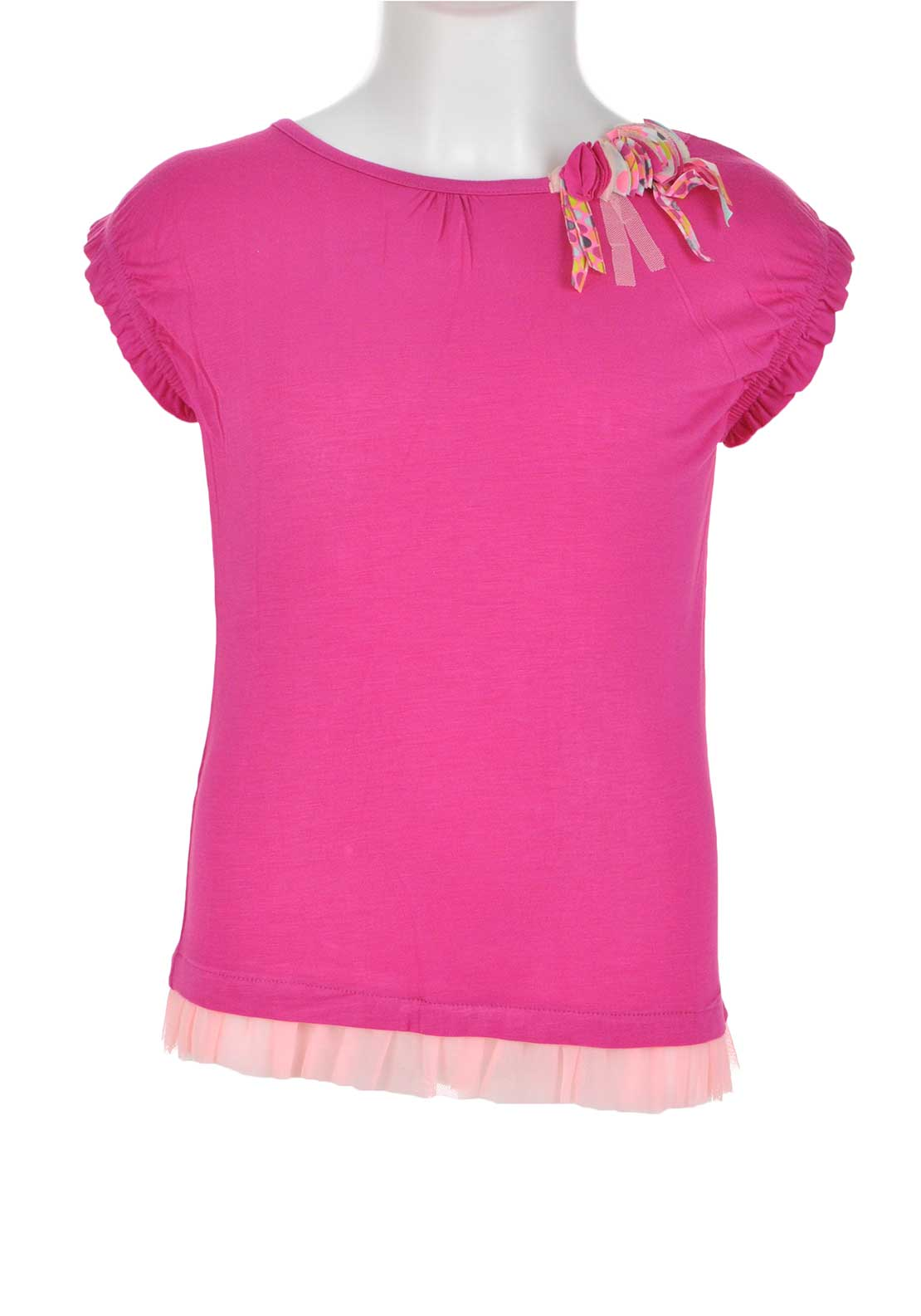 Tuc Tuc Girls Tulle Trim Embroidered Top, Pink