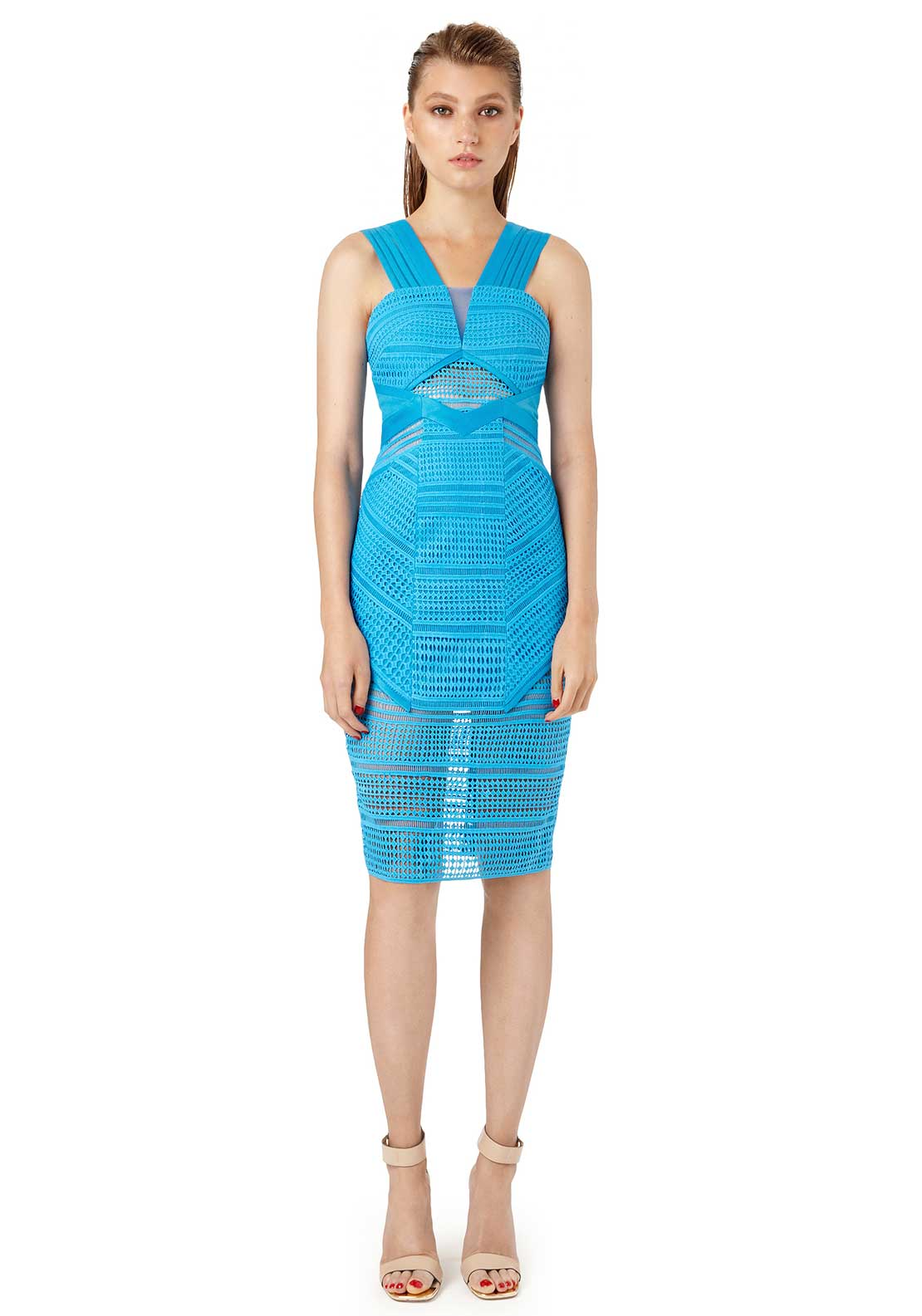 Three Floor Pacific Cut Out Lace Bodycon Dress, Aqua Blue