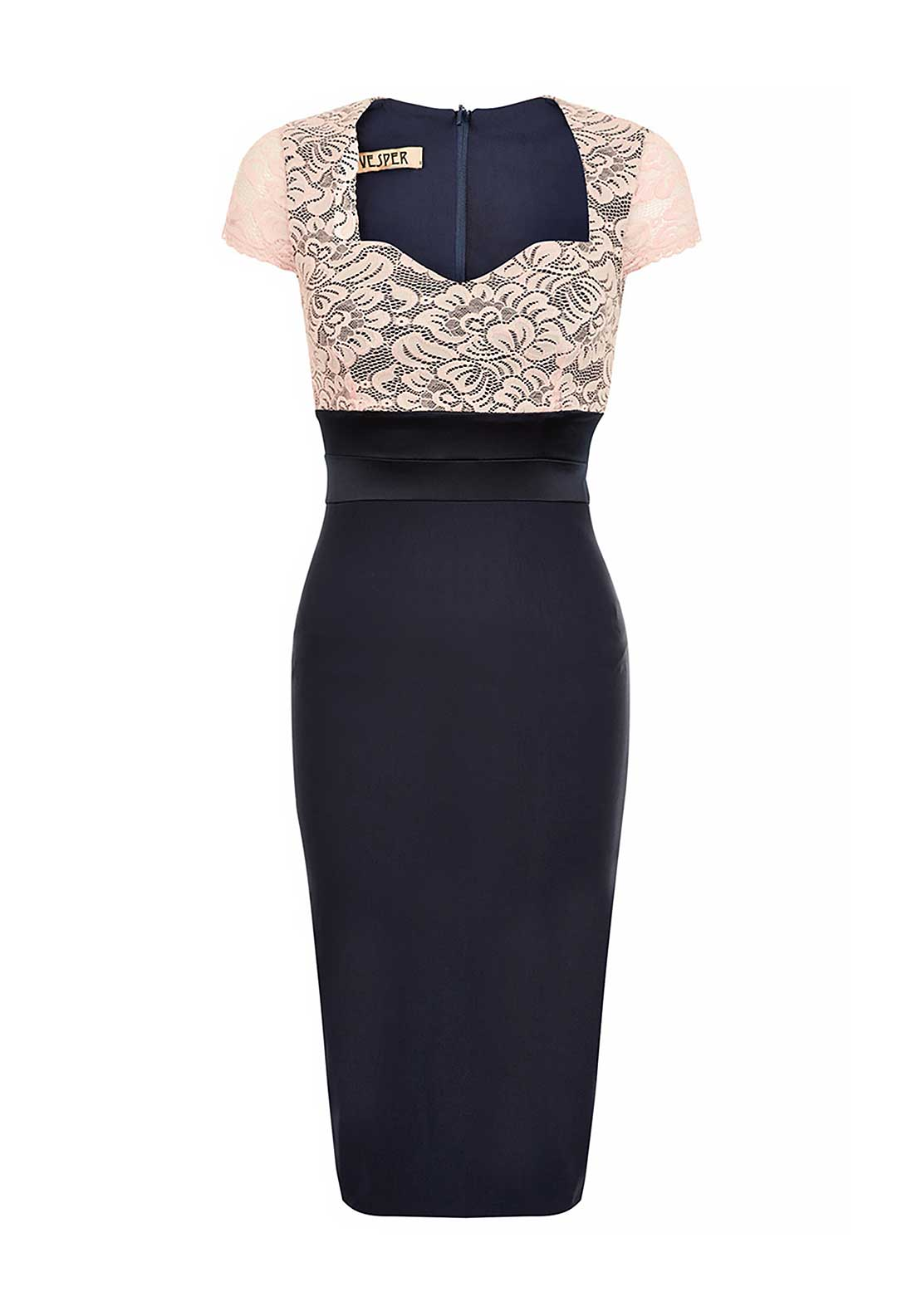 Vesper Thea Lace Panel Bodycon Midi Dress, Navy and Blush