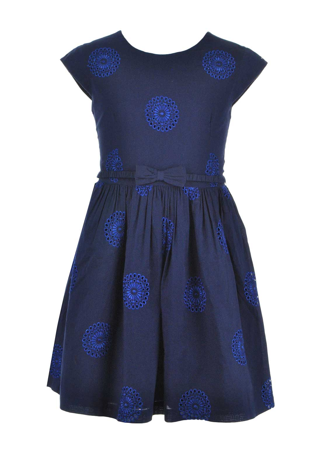 Tommy Hilfiger Girls Circle Crochet Print Dress, Navy
