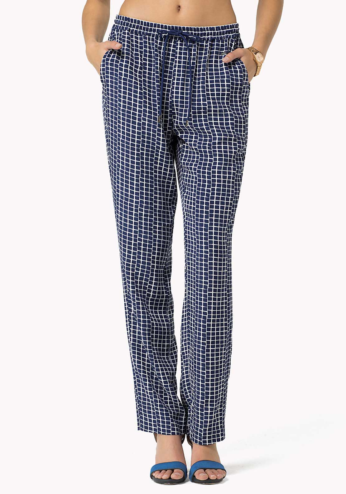 Tommy Hilfiger Womens Nancy Printed Tapered Trousers, Blue