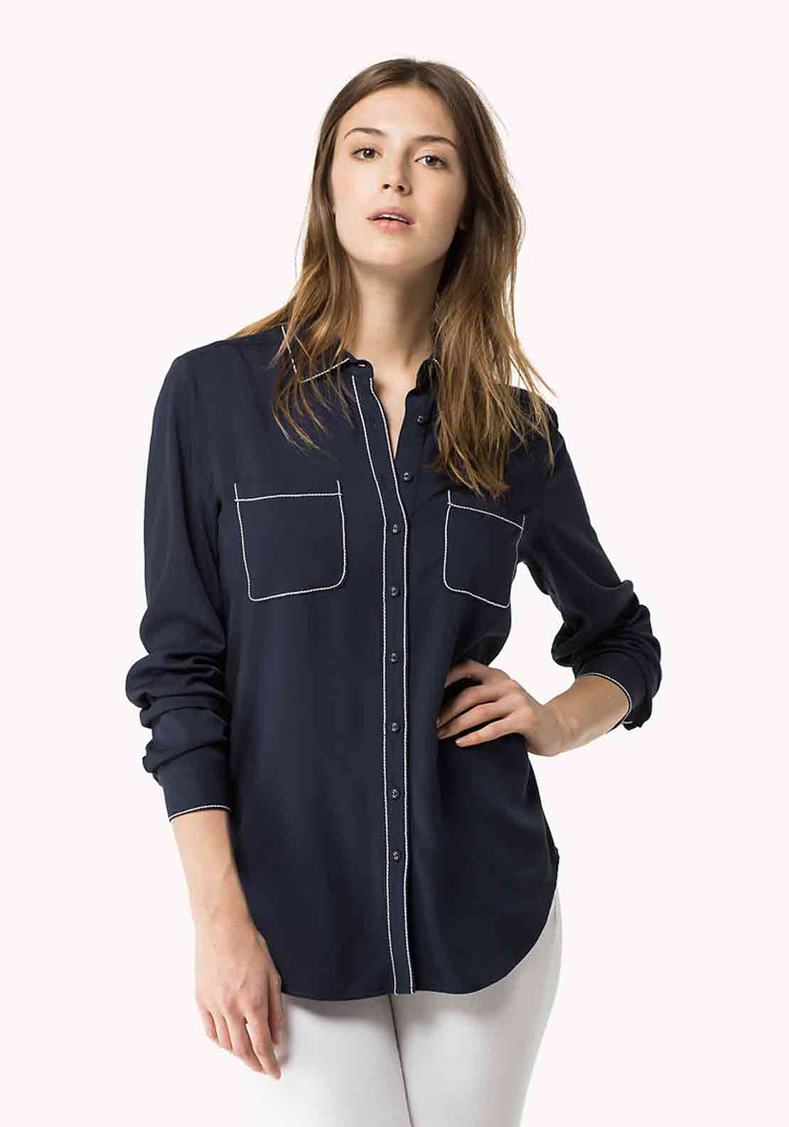 Tommy Hilfiger Womens Nicola Stitch Trim Blouse, Navy
