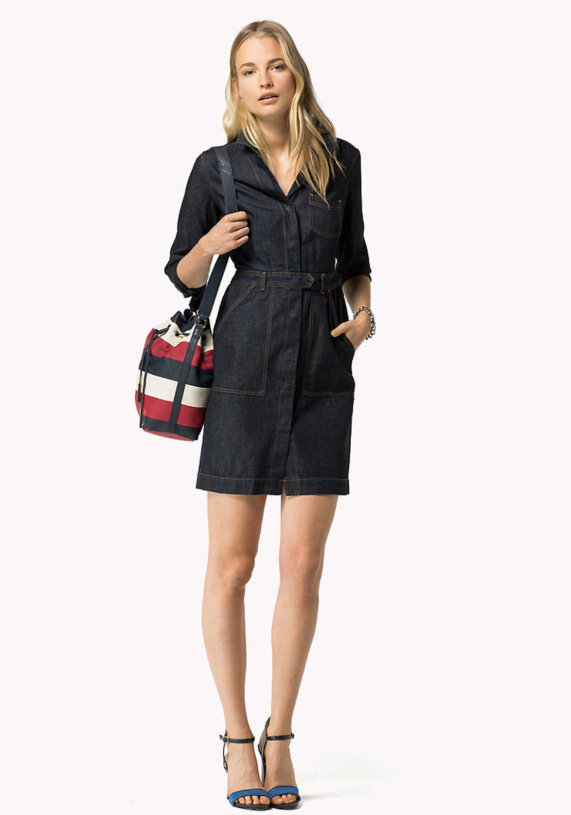 Tommy Hilfiger Womens Cathleen Denim Dress, Indigo