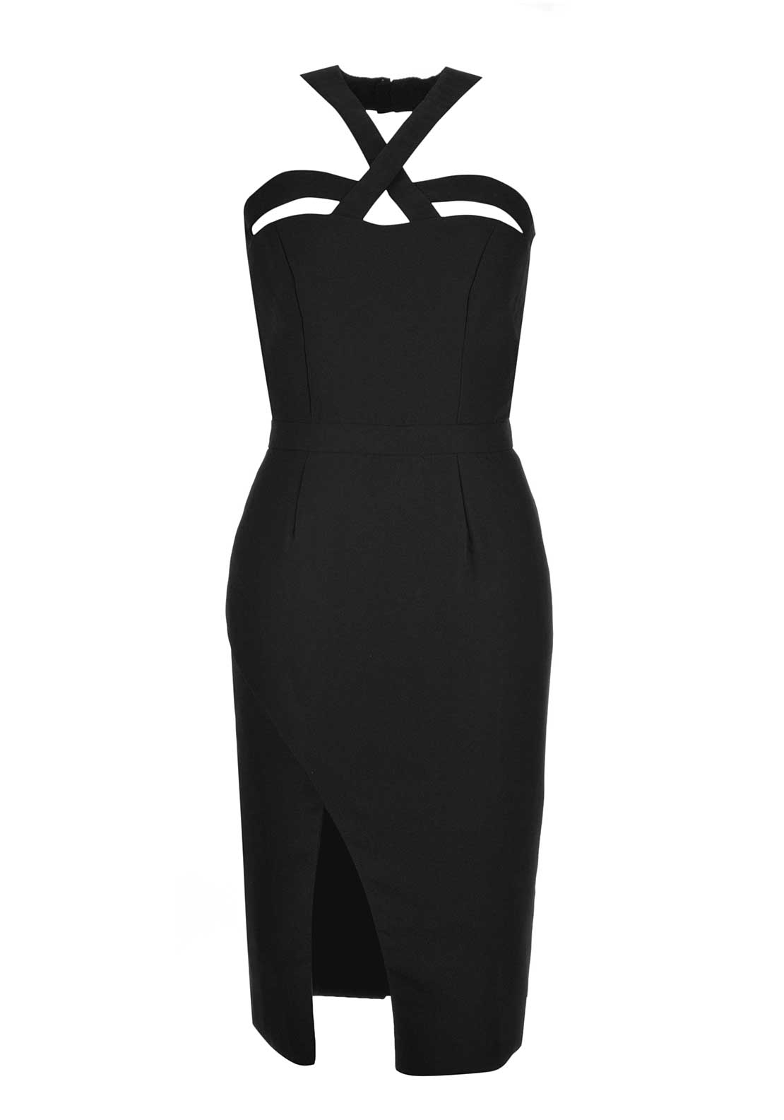 VLabel London Tooley Cut out Dress with Slit, Black
