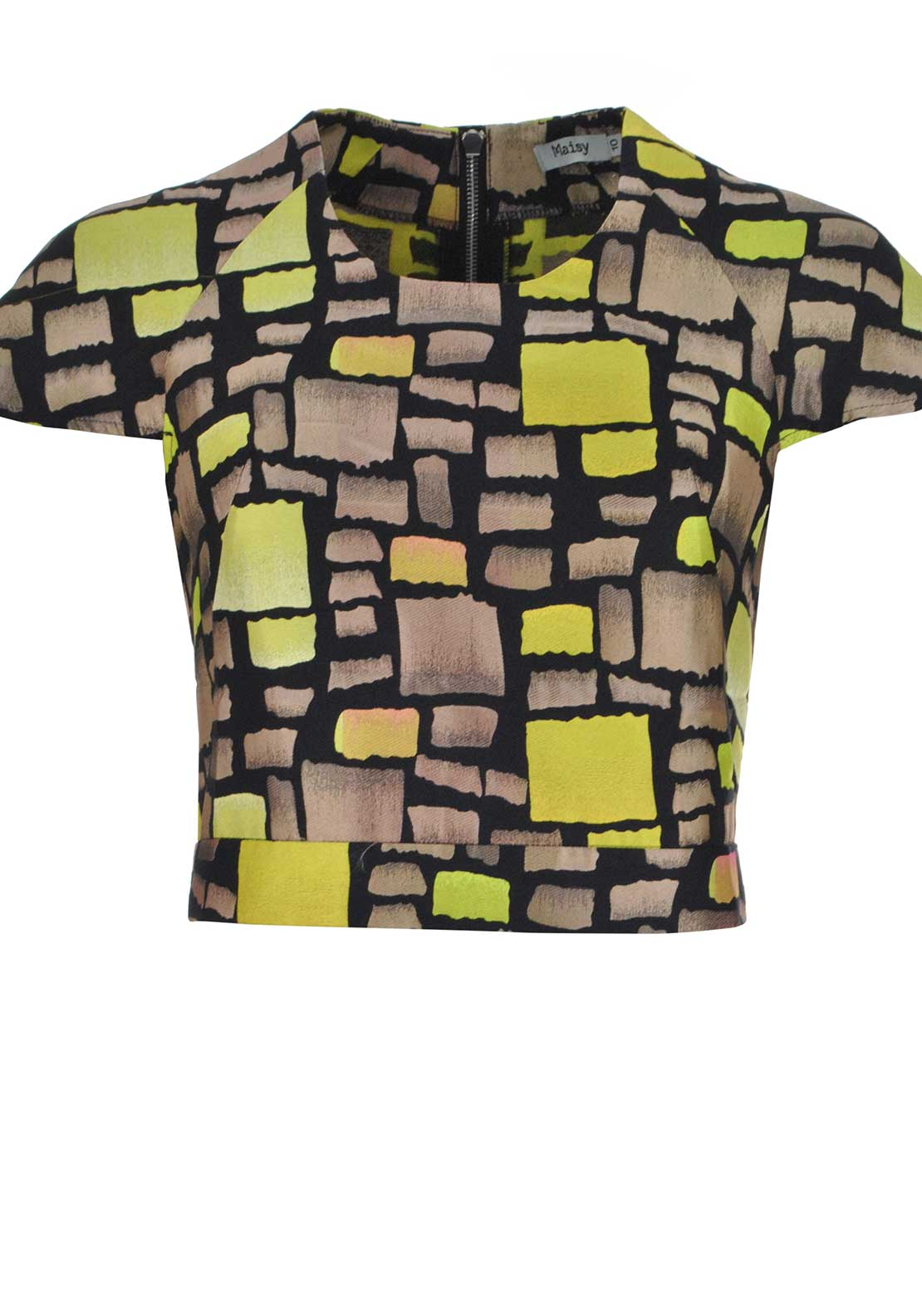 Maisy Abstract Print Crop Top, Taupe and Lime Green