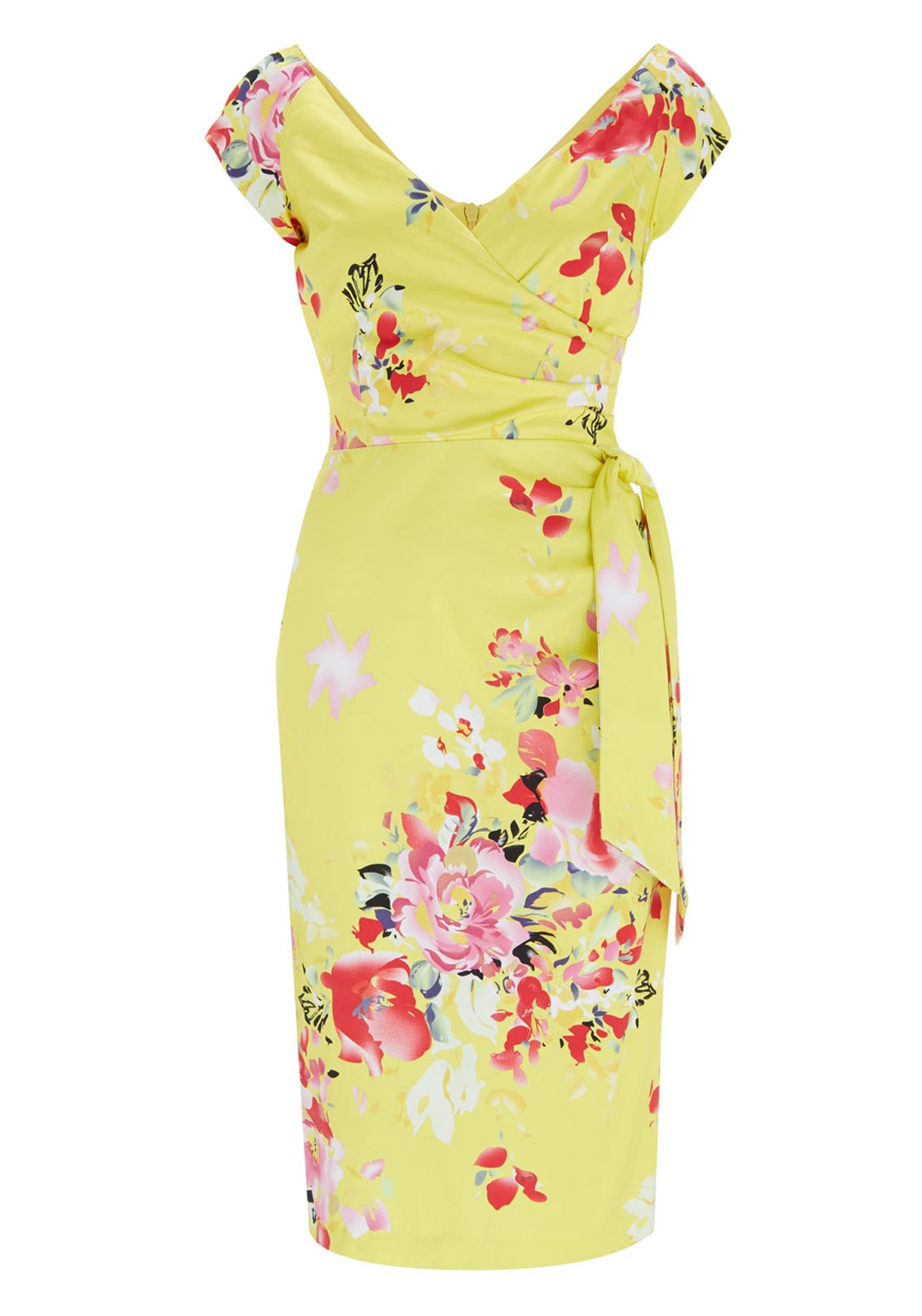 The Pretty Dress Company Seville Hourglass Floral Print Dress, Lemon