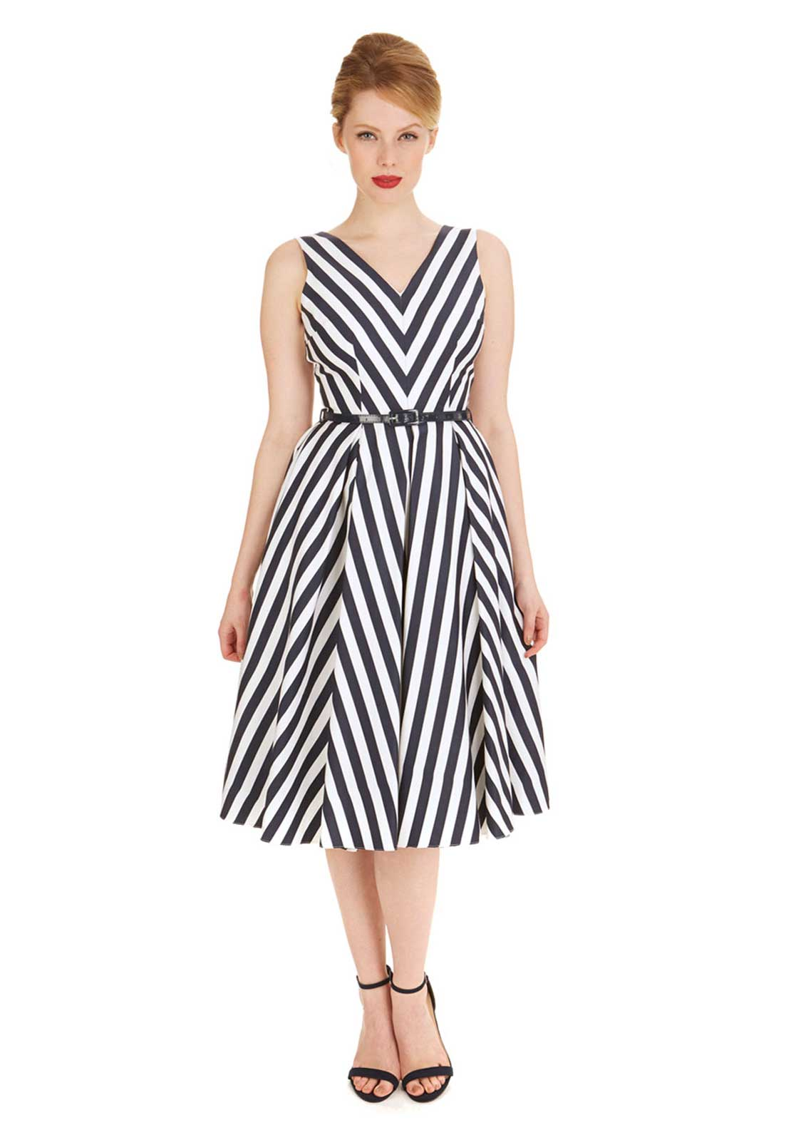 The Pretty Dress Company Ida Striped Fit and Flare Midi Dress, Navy and White