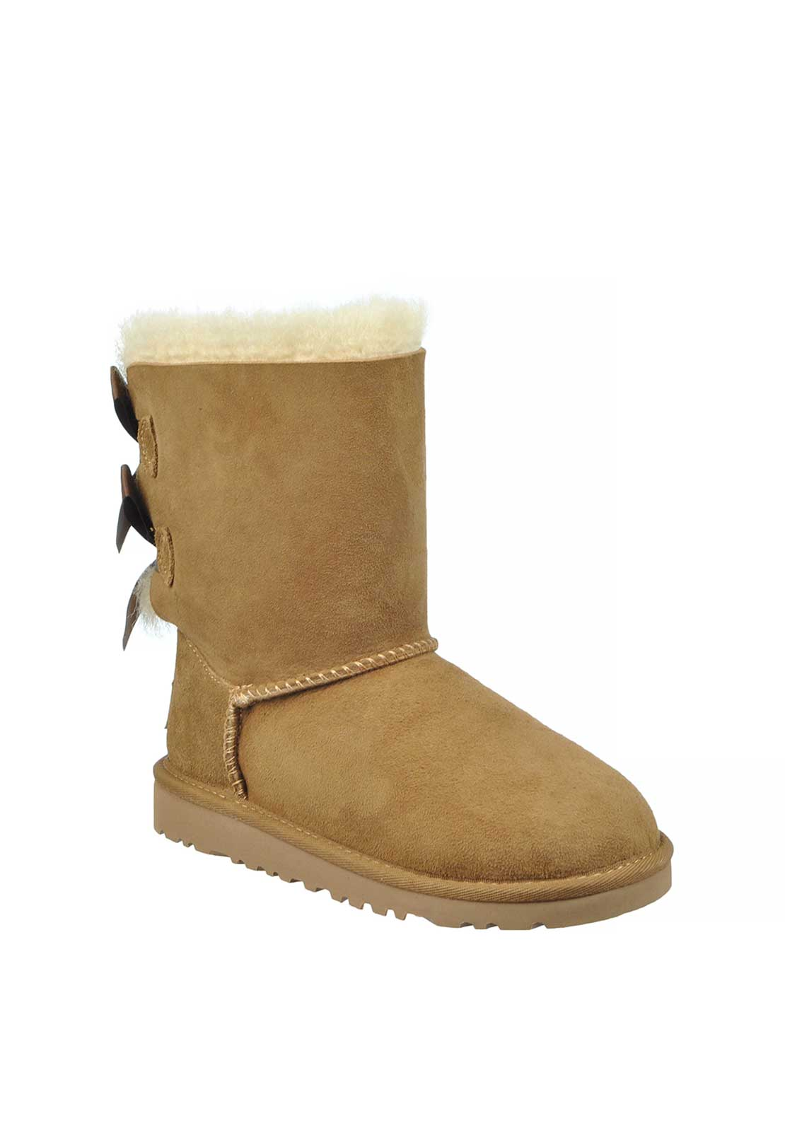 UGG Australia Youth Girls Suede Bailey Bow Boots, Chestnut