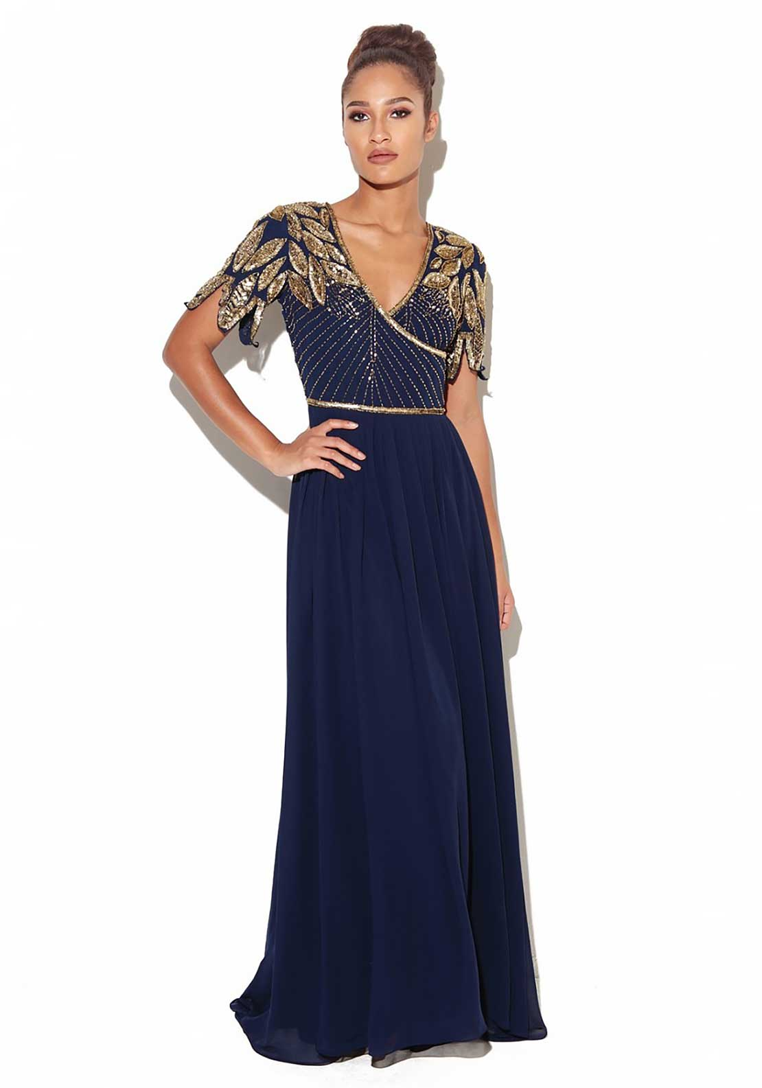 Virgos Lounge Ursula Embellished Bodice Long Dress, Navy