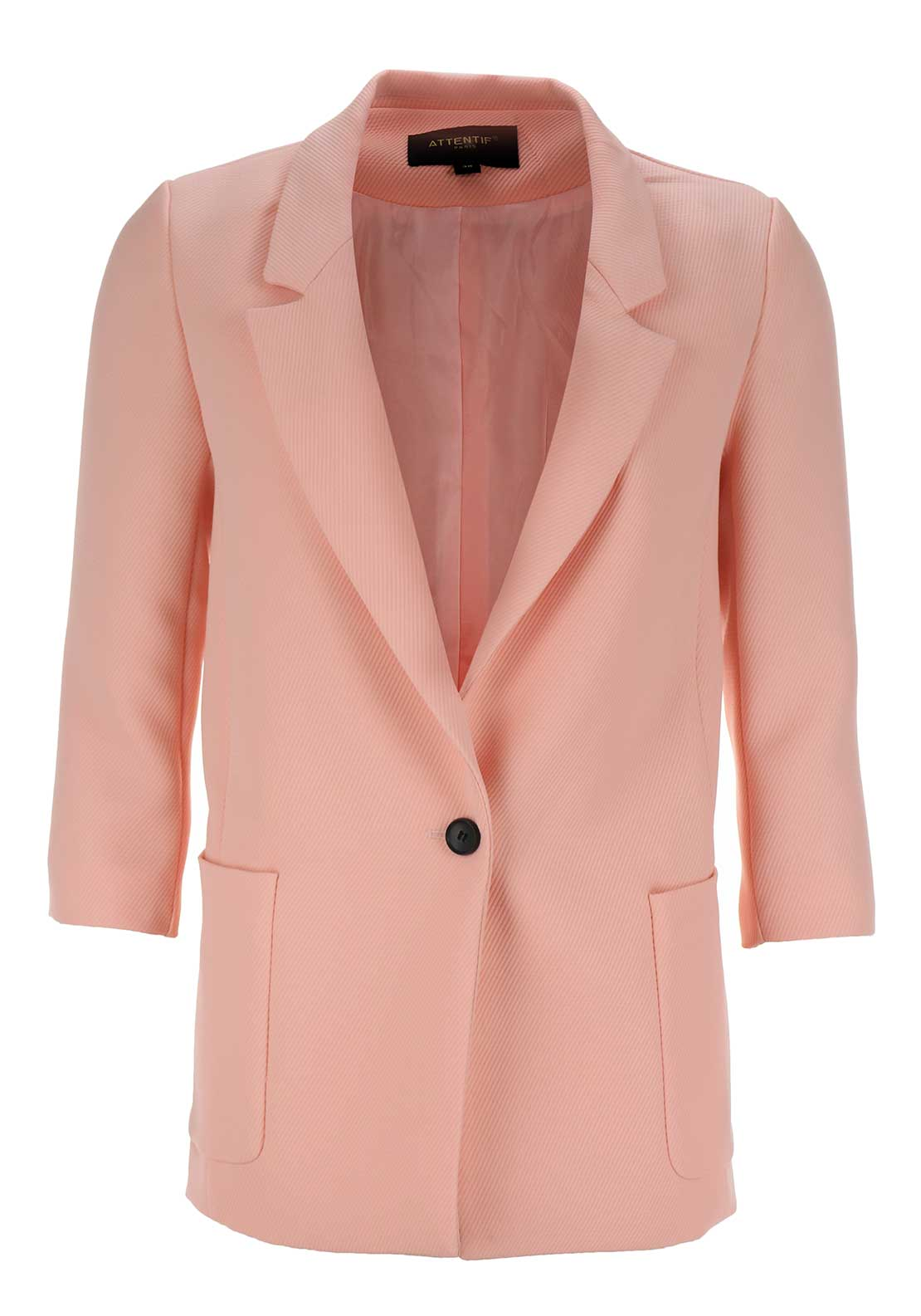 Boutique Embossed Blazer Jacket, Pink