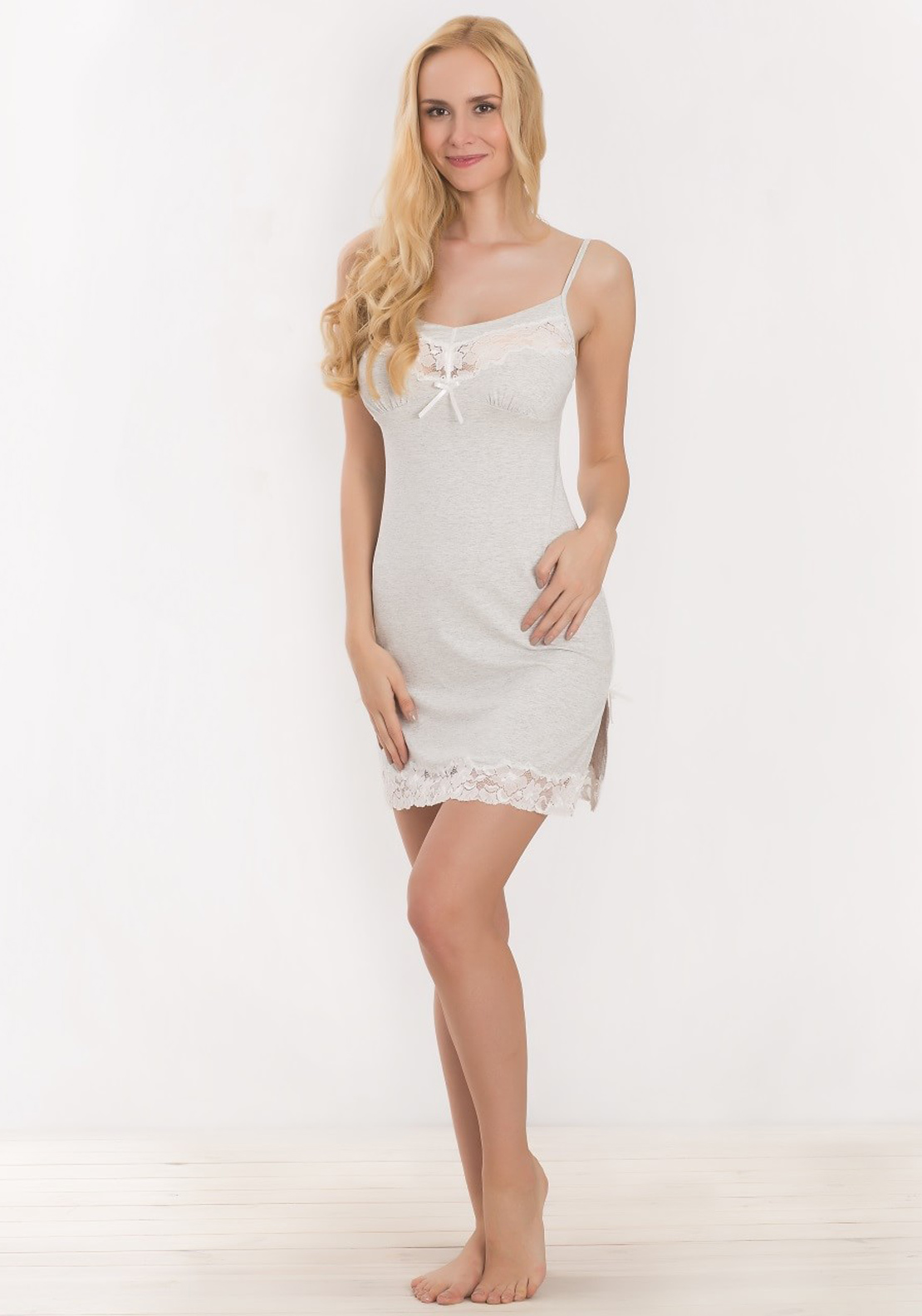 Vanilla Night & Day Lace Trim Sleeveless Chemise Nightdress, Grey