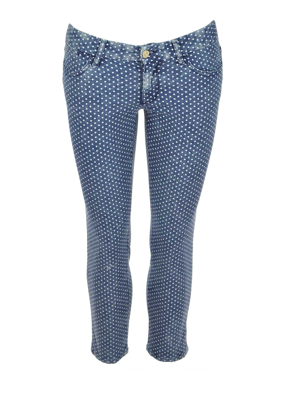 Guess Womens Polka Dot Skinny Cropped Jeans, Blue