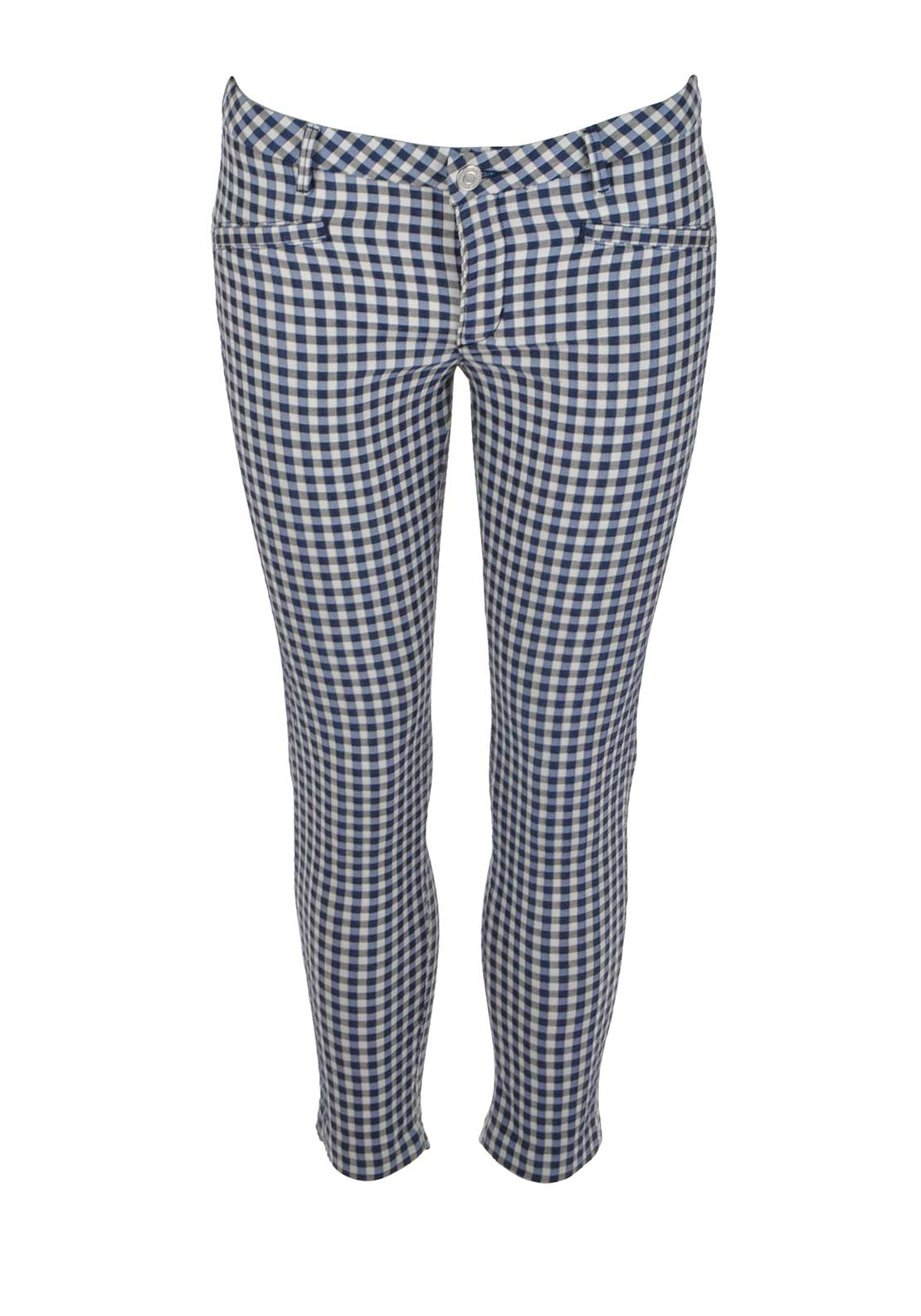Guess Womens Chequered 7/8 Skinny Trousers, Blue