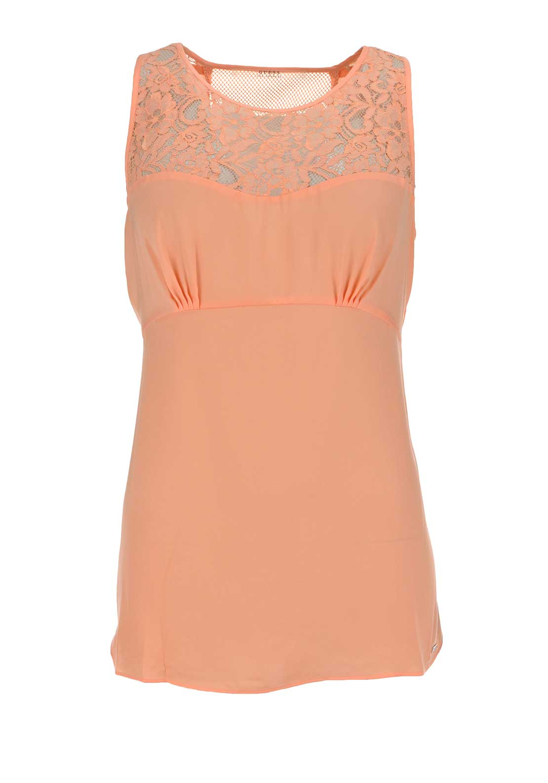 Guess Womens Estella Lace Panel Satin Top, Peach