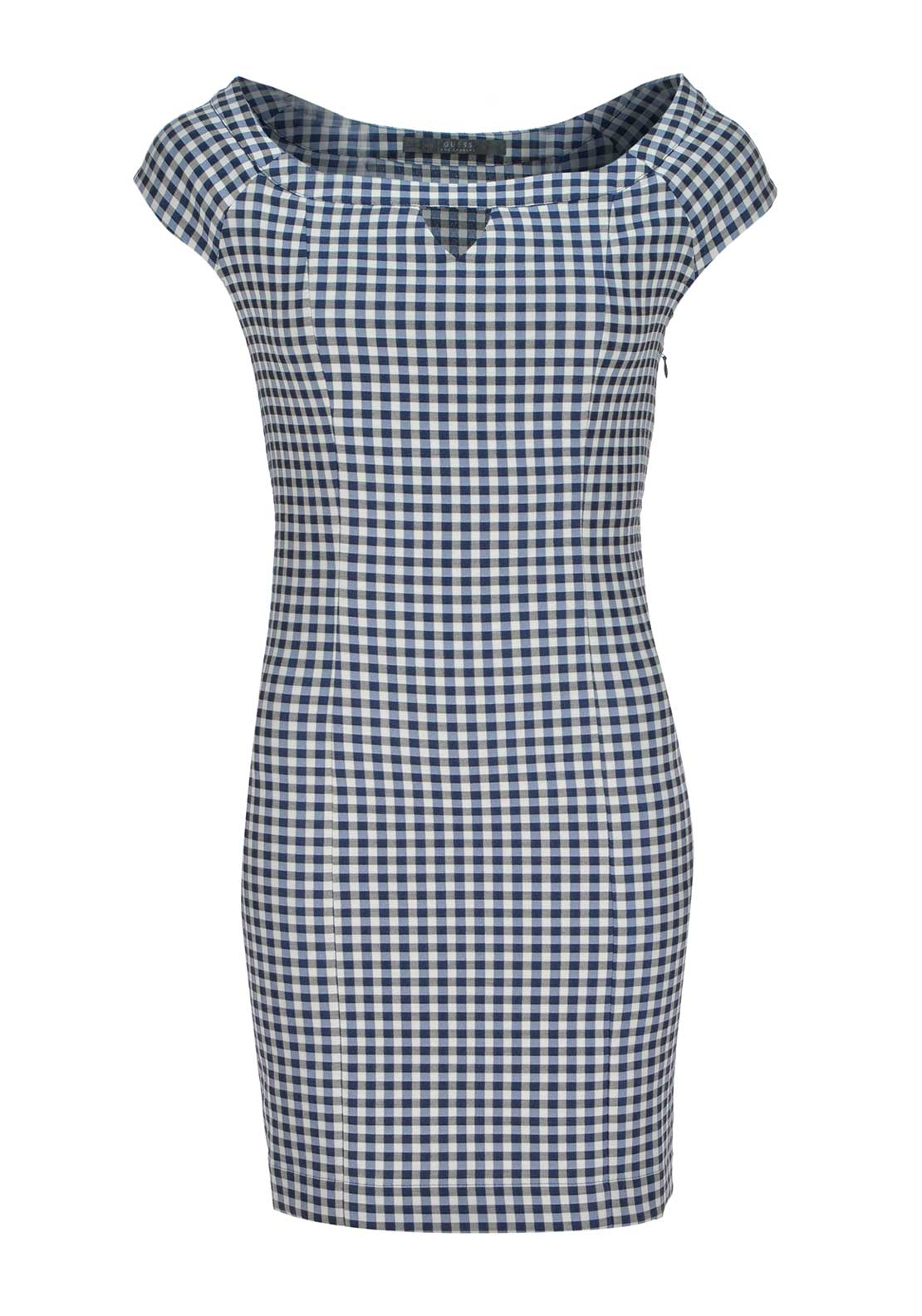 Guess Womens Shelly Bardot Neck Chequered Bodycon Dress, Blue