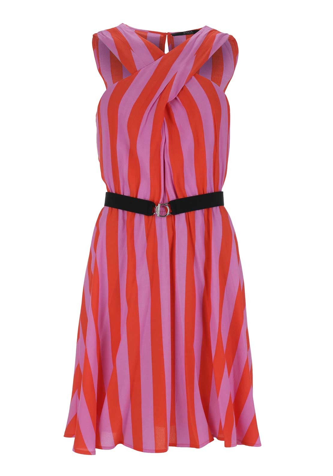 Guess Womens Hennie Striped Criss Coss Belted Dress, Pink