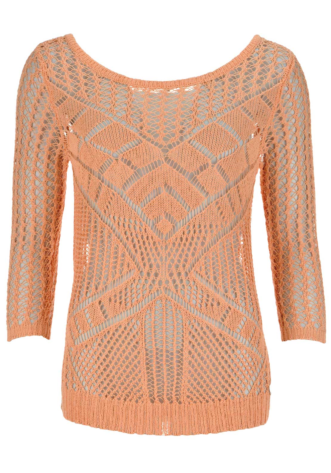Guess Womens Crochet Knitted Cropped Sleeve Jumper, Peach