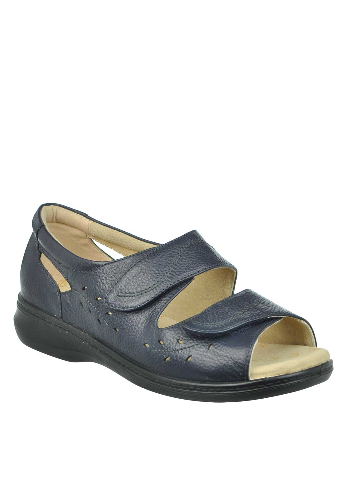 Padders + Wave Velcro Strap Sandals, Navy