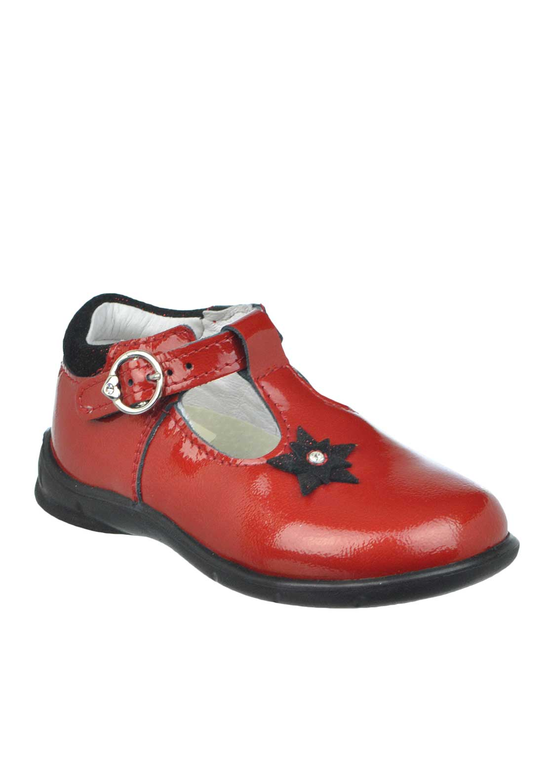 Pepino by Ricosta Baby Girls Winsy Patent Star Buckled Strap Leather Shoes, Red