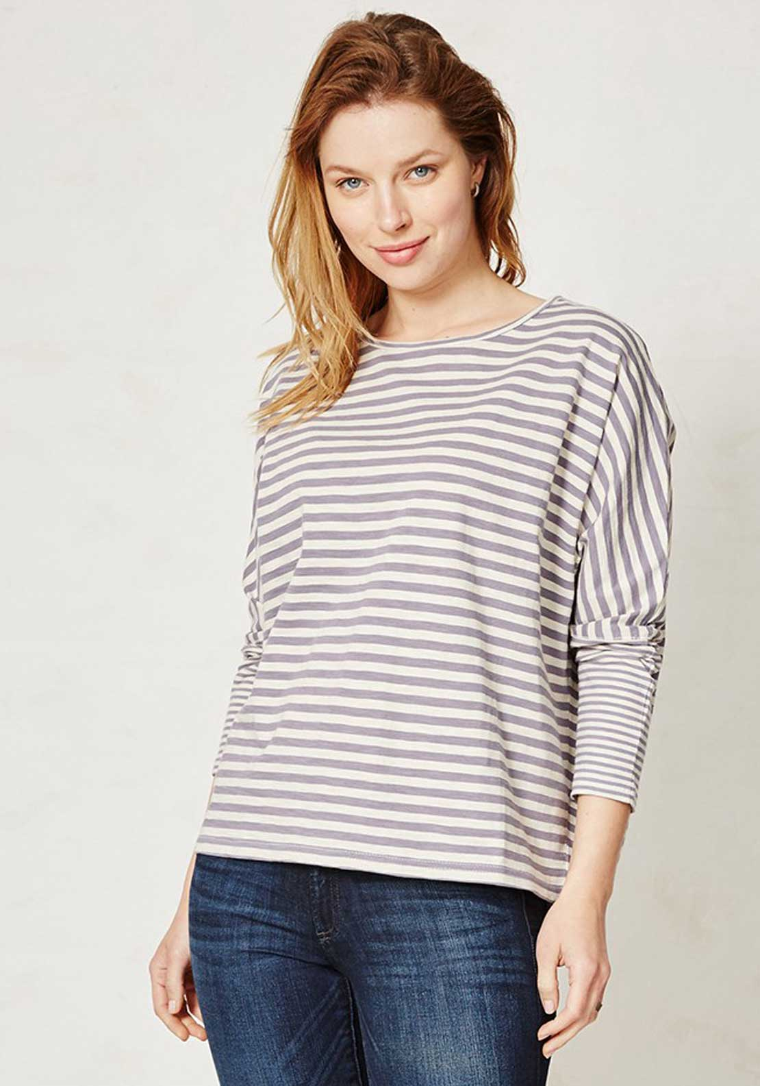 Braintree Lilli Striped Long Sleeve T-Shirt, Blue and Cream