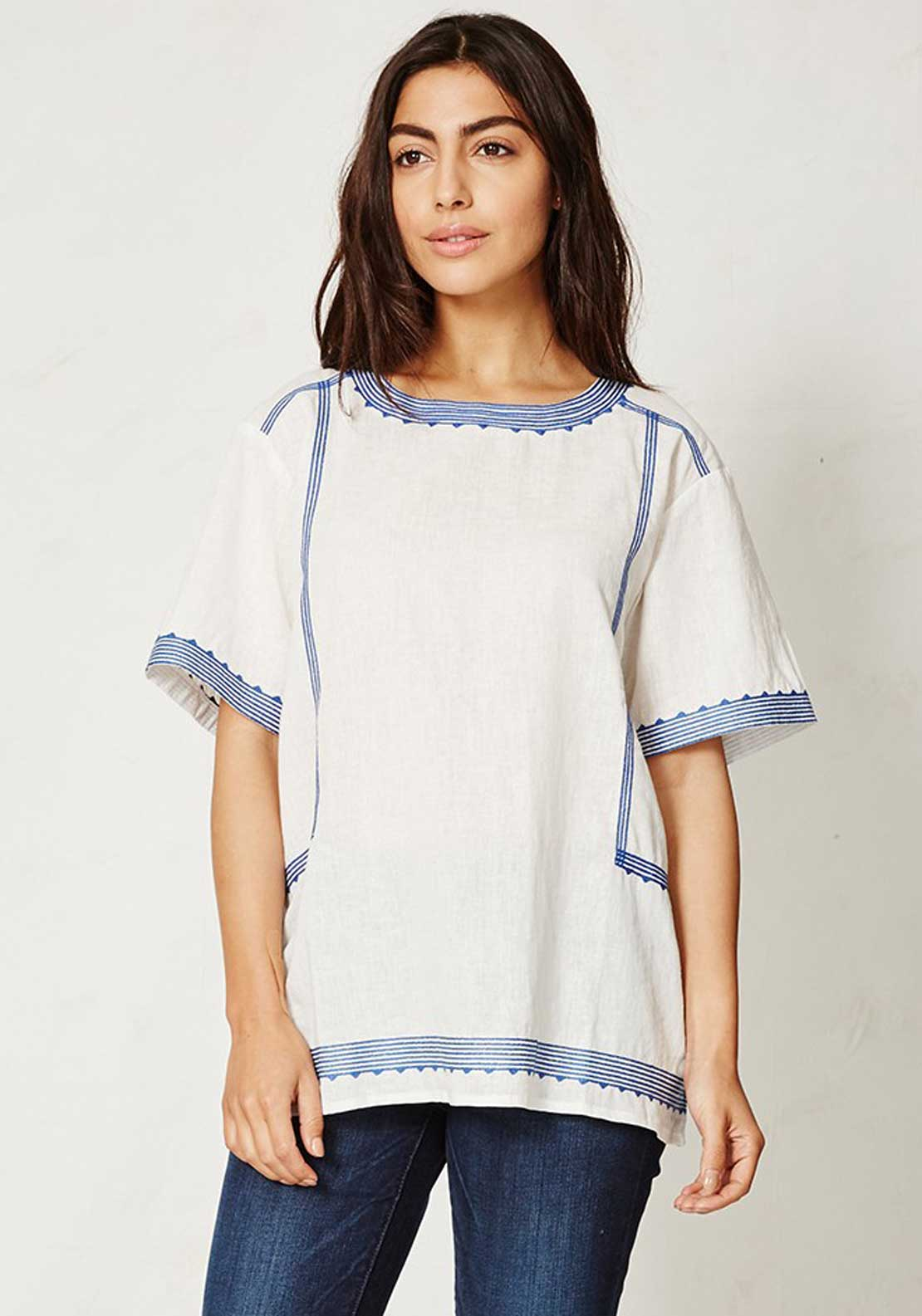 Braintree Karima Embroidered Short Sleeve Top, Ivory