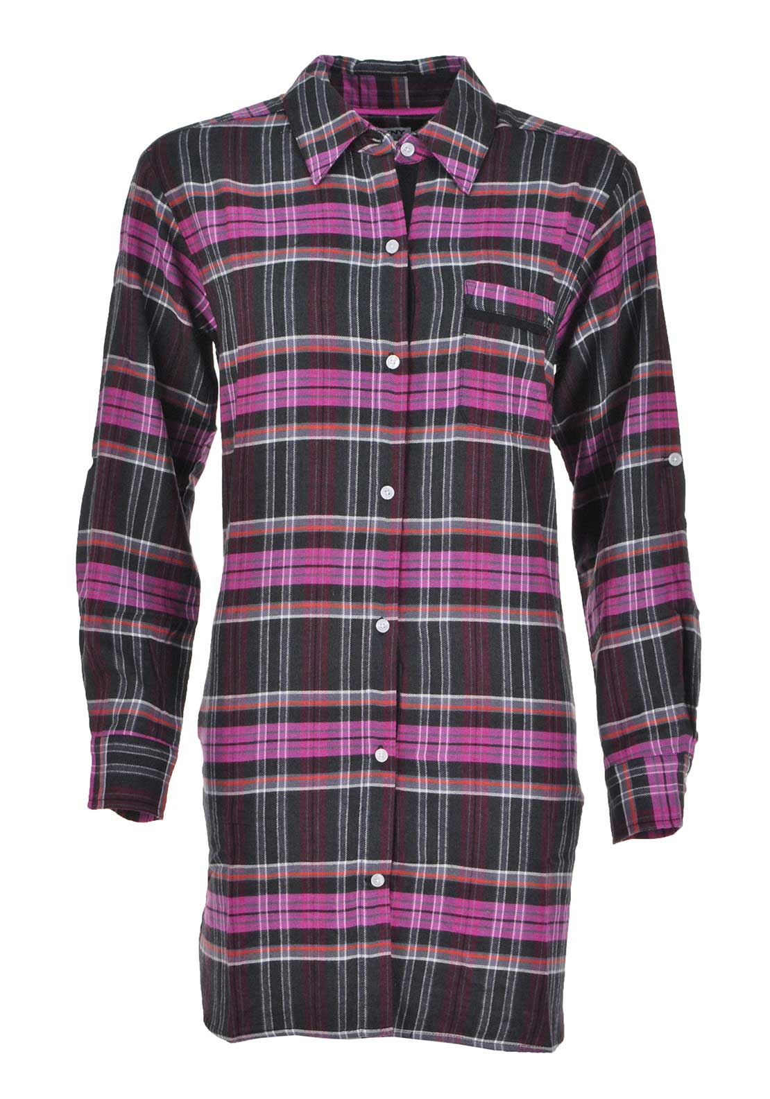 DKNY Womens Checked Long Sleeve Night Shirt, Multi-Coloured