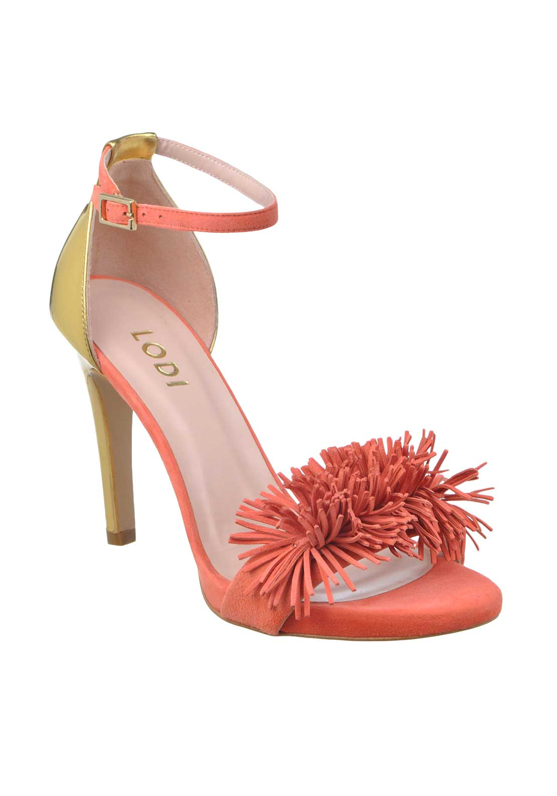 McElhinney's by Lodi Year Suede Fringed Open Toe Heeled Sandals, Peach Coral