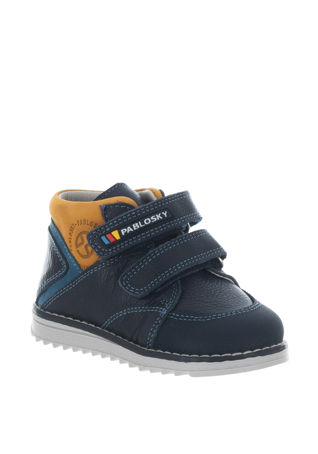 Pablosky Boys Yellow Cuff Velcro Strap Boots, Navy
