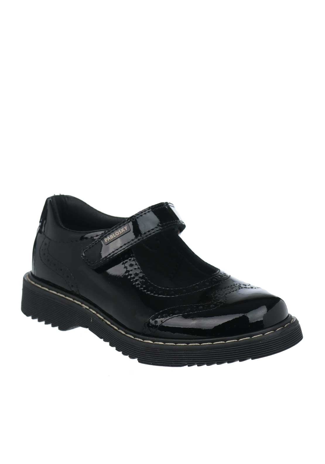 Pablosky Girls Patent Leather Mary Jane School Shoes, Black