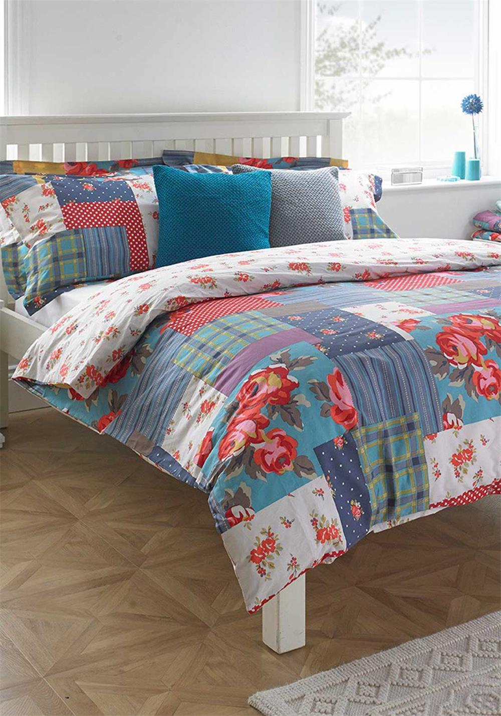 Paoletti Patchwork Duvet Cover Set, Multi-Coloured