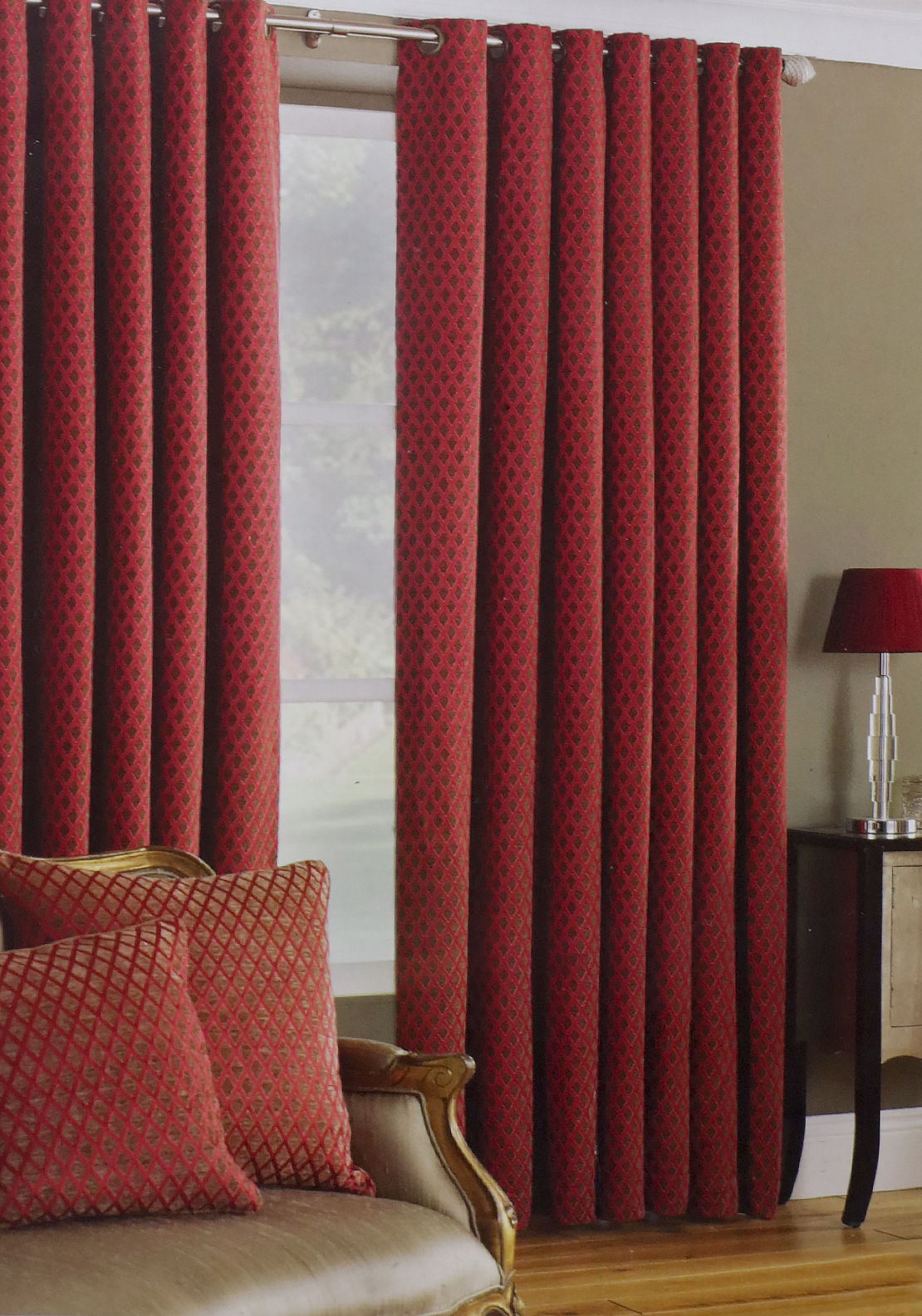 Paoletti De Vere Diamond Print Fully Lined Eyelet Curtains, Burgundy