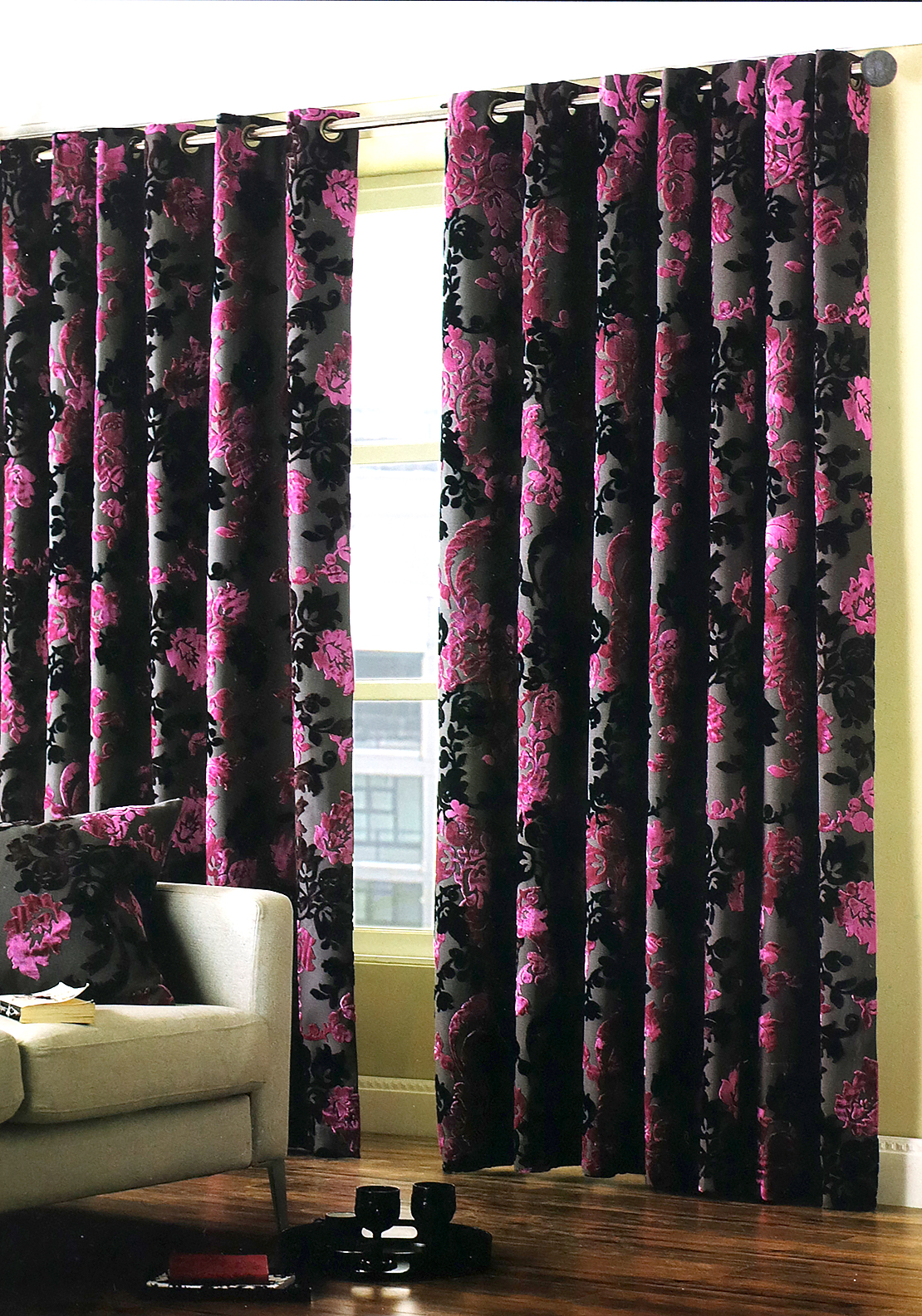 "Paoletti Fairmount Floral Print Fully Lined Eyelet Curtains 90""x90"", Fuschia"