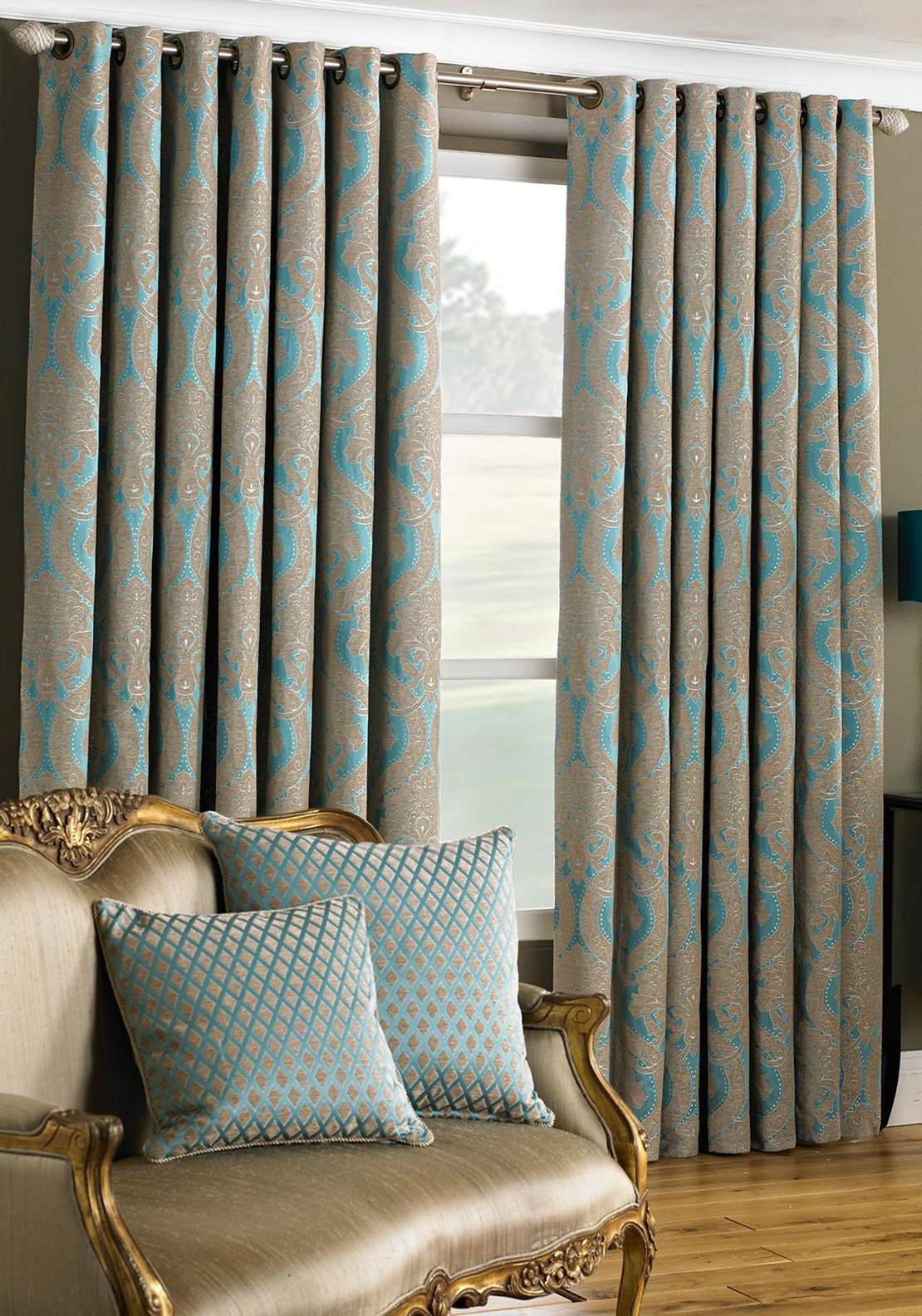 "Paoletti Renaissance Printed Fully Lined Eyelet Curtains 90""x90"", Turquoise"