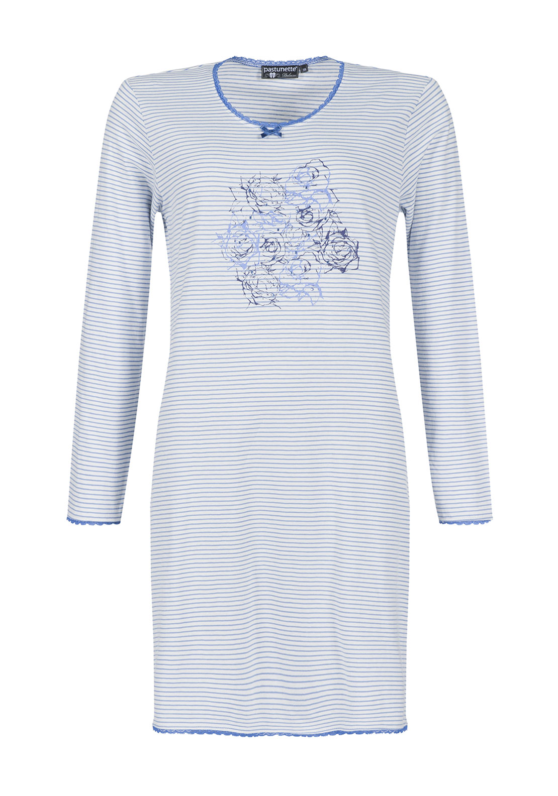 Pastunette Striped Print Nightdress, Blue and White